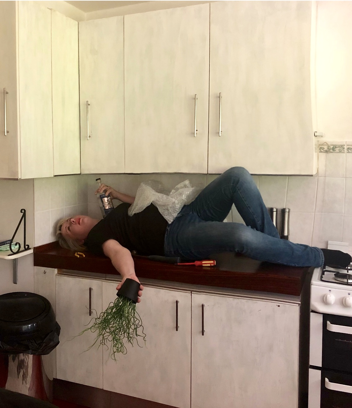 After I finished acting the fool for Instagram…. Jim got to work removing the wall units….