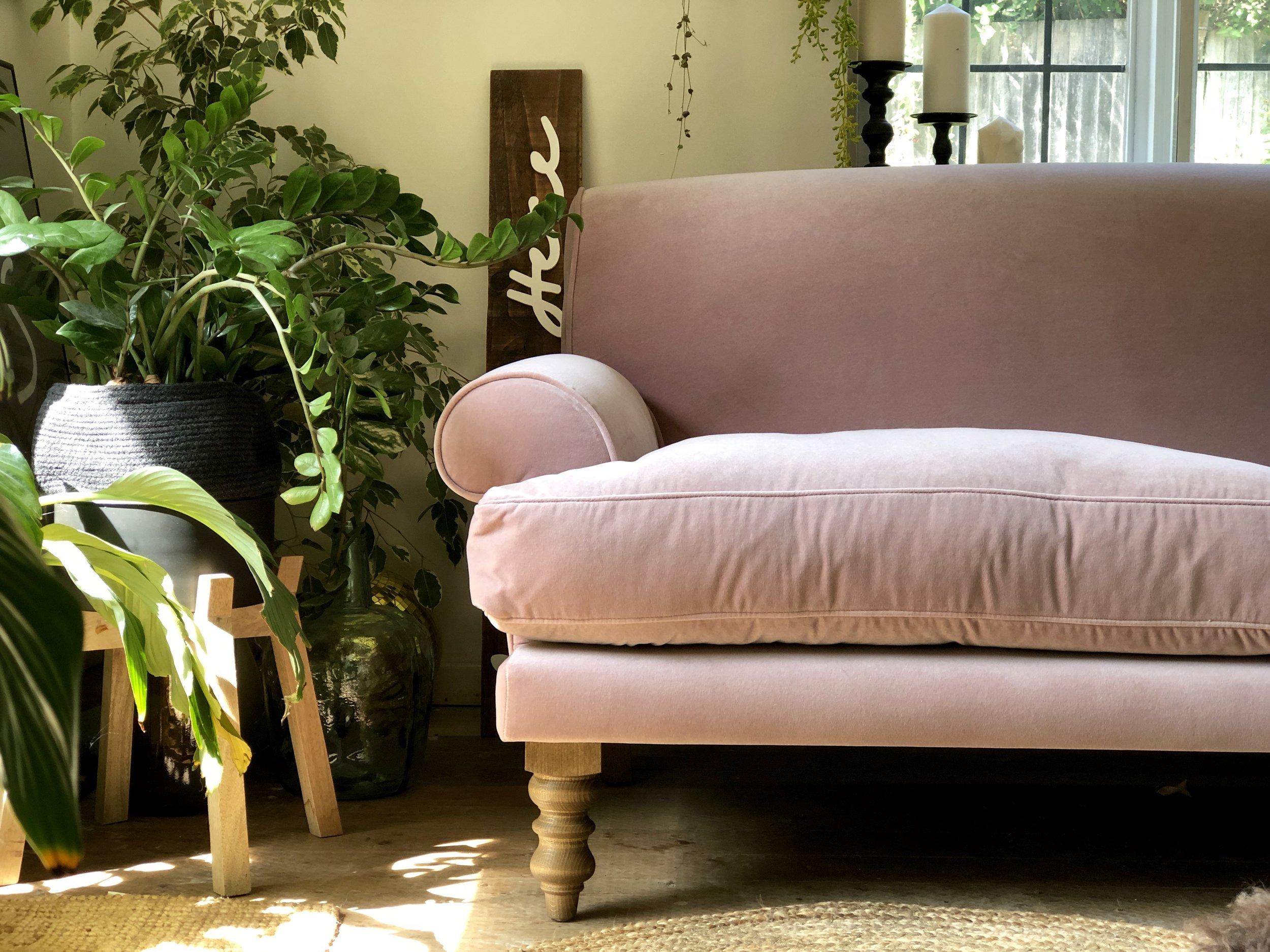 The 'Saturday' sofa in Orchid cotton matt velvet…..