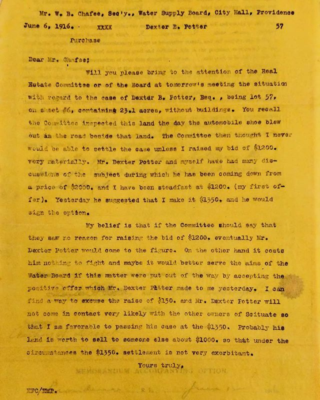 Edwin F. Cary carried out his job as purchasing agent quite successfully, closing deals with landowners at prices beneficial to the PWSB and taxpayers. Sometimes though Cary seems to be more lenient, in this letter to the Board he recommends a higher price be offered for the land of Dexter E. Potter, who was a relative of the Chairman of the Board.