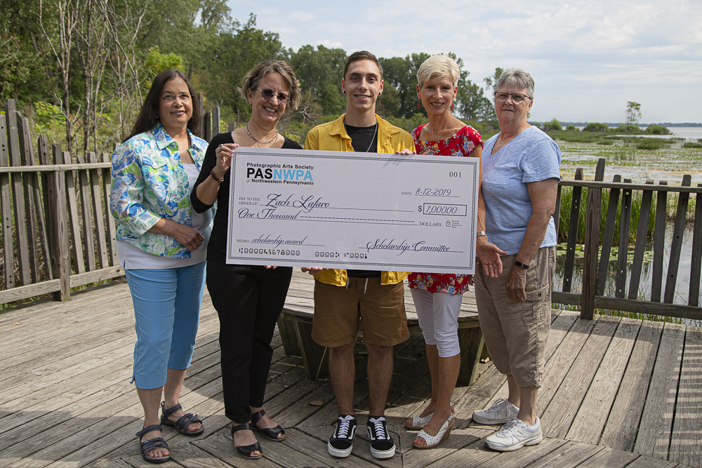 Pictured (L-R): Anna Marie Senita, Director; Melinda Isachsen, Vice President; Zach Lafaro, Scholarship Recipent; Patti Larson, President; and Candy Felege, Treasurer.