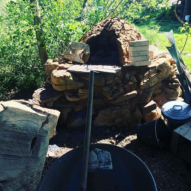Spent a little time rehabbing the cob oven today. The cob oven is also part of a grape and liberty apple guild.  This summer the kids and I will finally out the final sculpted layer on.  #coboven #stackingfunctions #pizzanight
