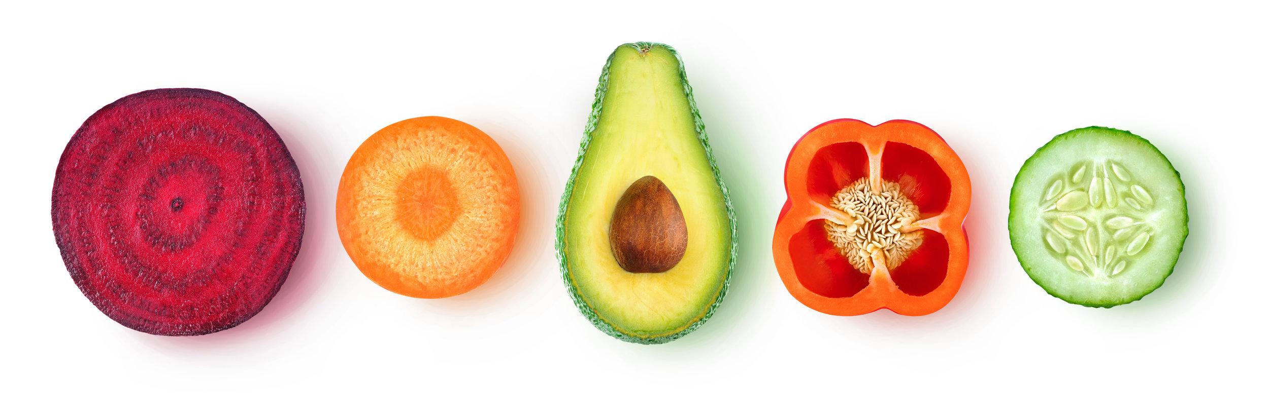 sliced veggies salad ingredients recipe