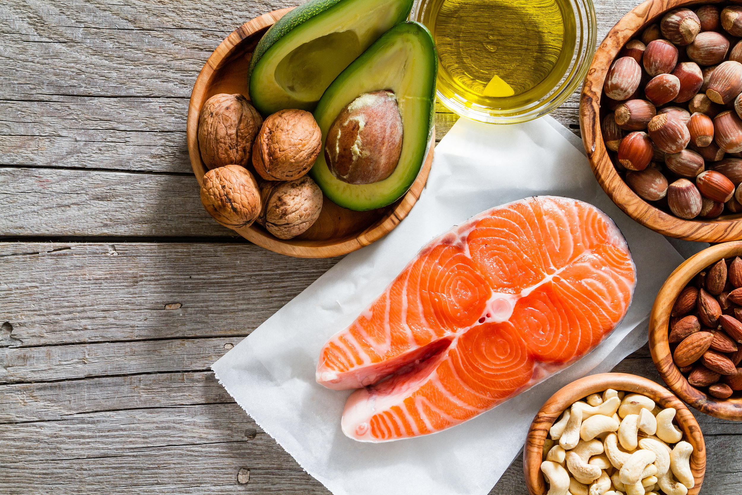 healthy fat salmon nuts seeds olive oil recipe