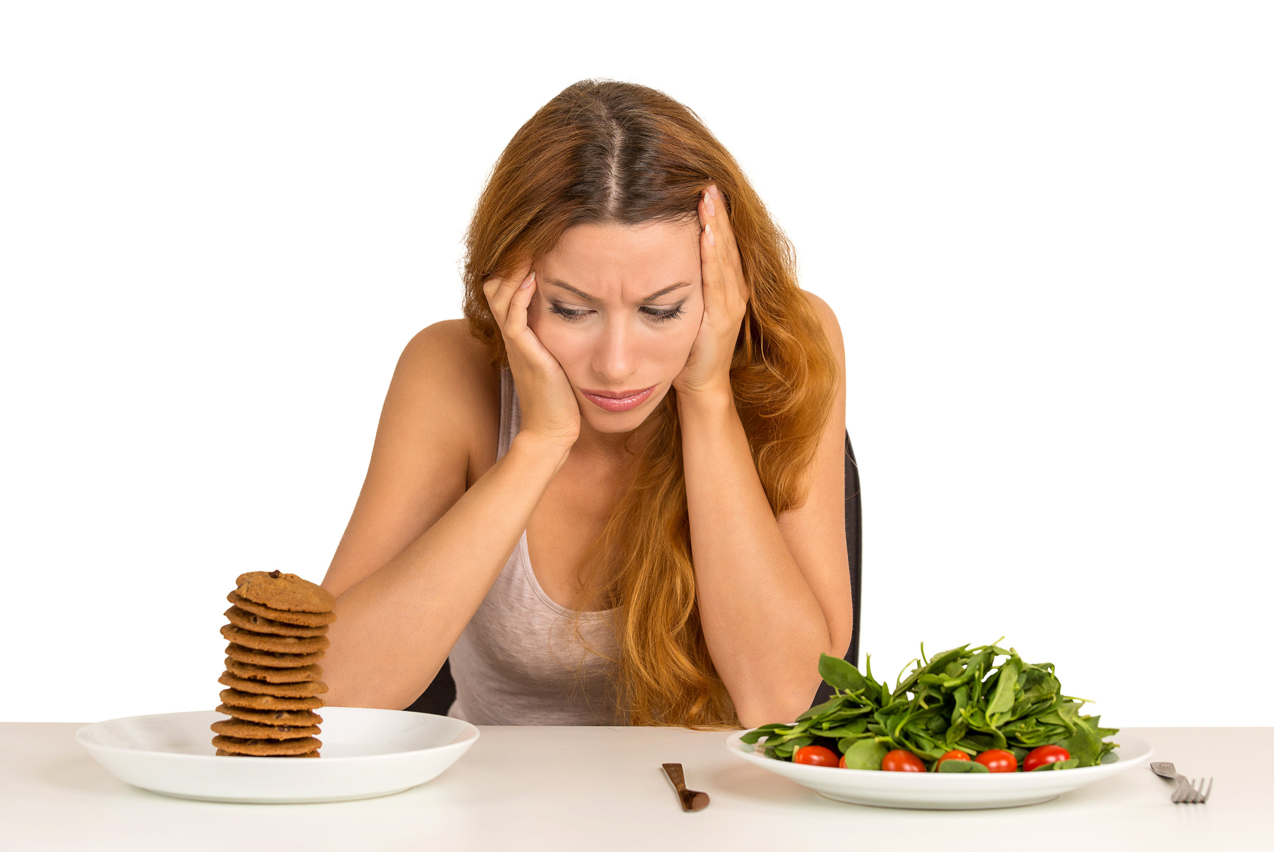 "Have you been in this situation? Stuck between a ""good"" food choice and a ""bad"" food choice? What if you ate some salad (and some protein) AND had one or two cookies? A whole stack of cookies alone probably won't satisfy you, and it might make you feel sick."