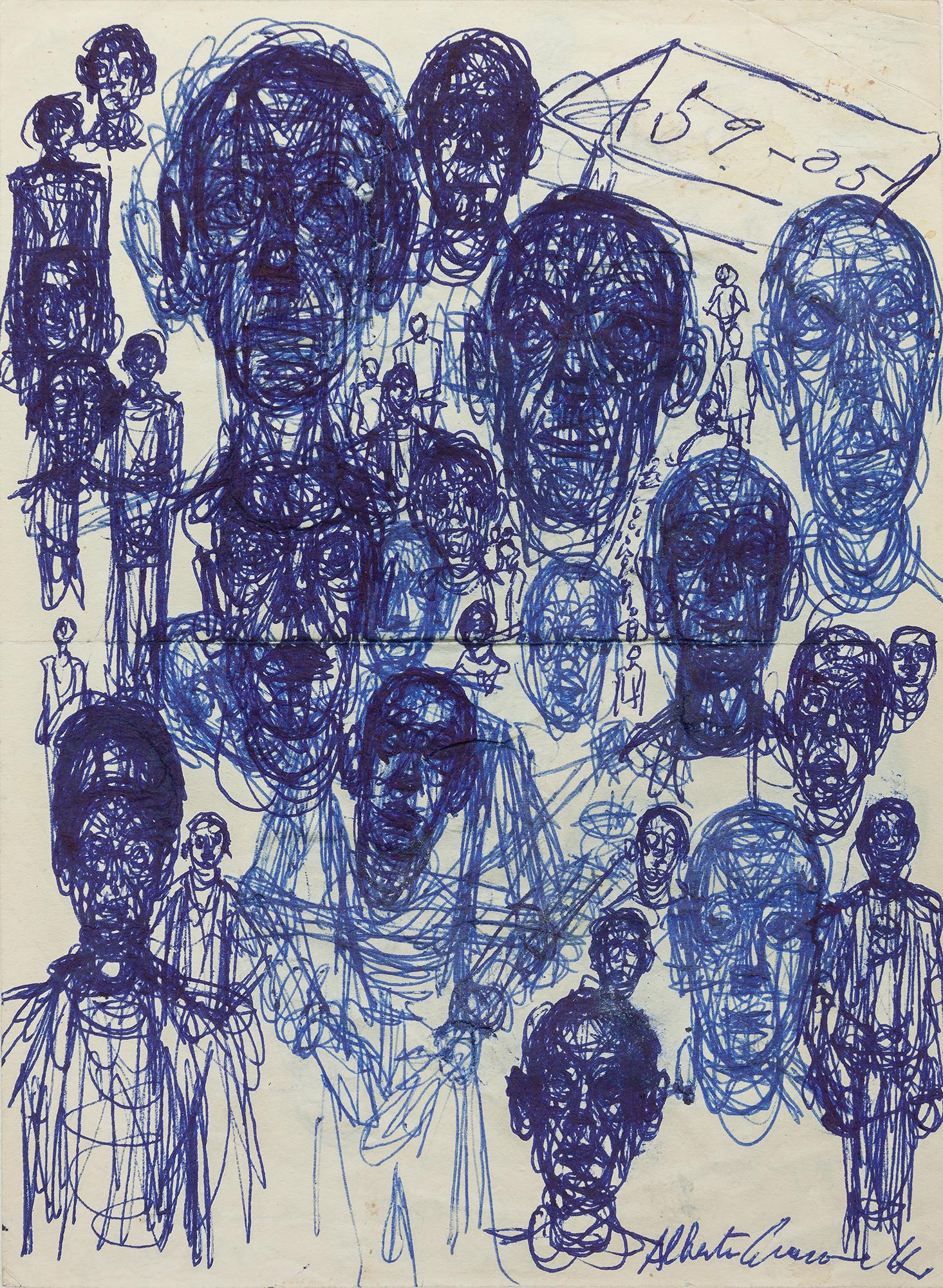 Men's Heads  ( Têtes d'hommes ), ca. 1959 Ballpoint pen on paper 18.3 x 13.6 cm Fondation Giacometti, Paris © Succession Alberto Giacometti, VEGAP, Bilbao, 2018