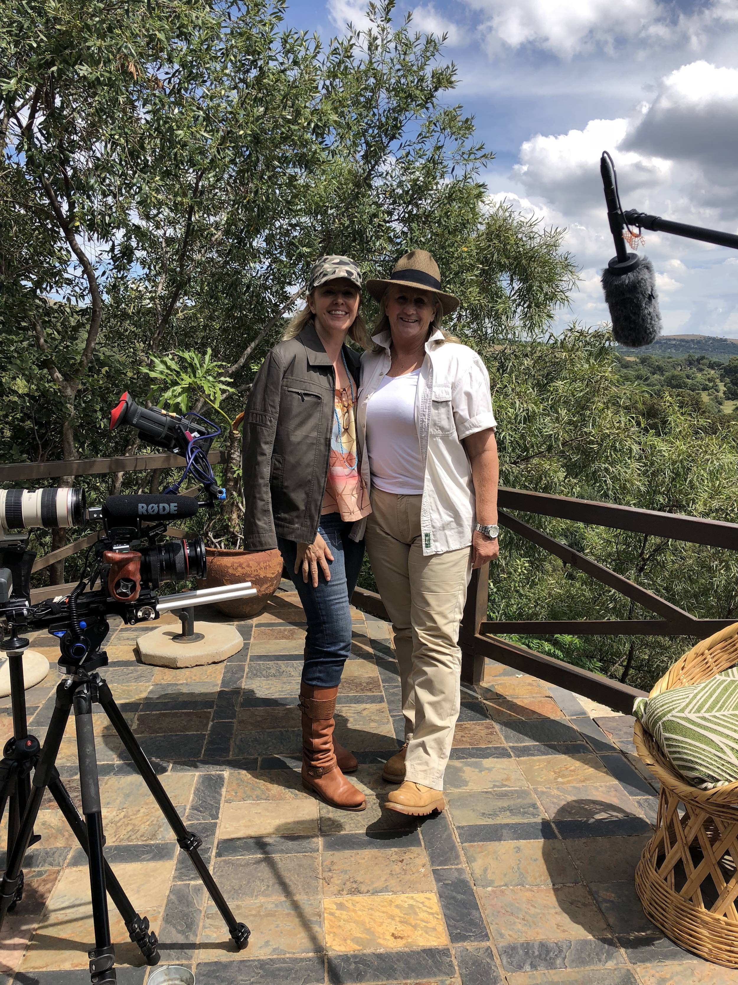 Director and Producer, Kerry David with Vicki Brooker at her farm where she houses abused, forgotten and needy wild animals! From elephants to lions, hyenas and ostriches, no animal turned away!
