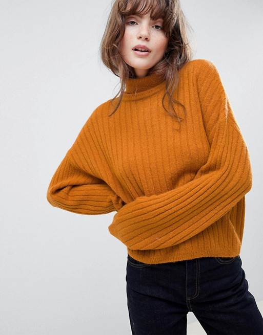 ASOS DESIGN Fluffy Sweater in Rib with Roll Neck   – $40