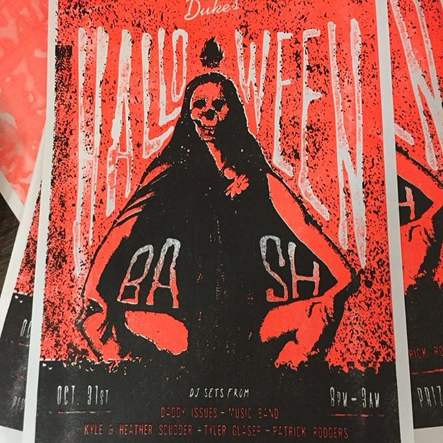 Another Halloween party poster made better with #floorange . . Poster by @scuddzy . Party at @dukesnashville . . #bethereorbescared #rioslogy #risograph #riso #printonlylooksdeadonhalloween