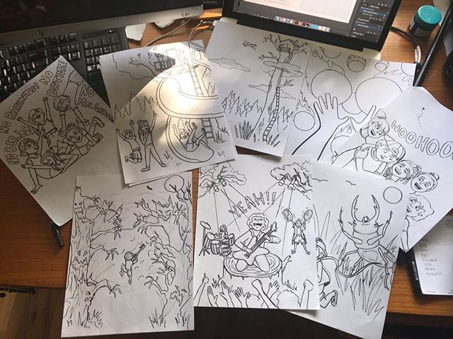 Busy at work today working on an exciting new book for @megandubs @theselfpublishingagency!! These are just rough drafts for the illustrations but I'm super excited about them! It's been so fun sitting down and getting in the flow of things. #art#draft#sketch#drawing#illustration#illustrator#childrensbook#kidsbook#childrensbookillustrator#artwork#pen#summer#studio#designer#design#artist