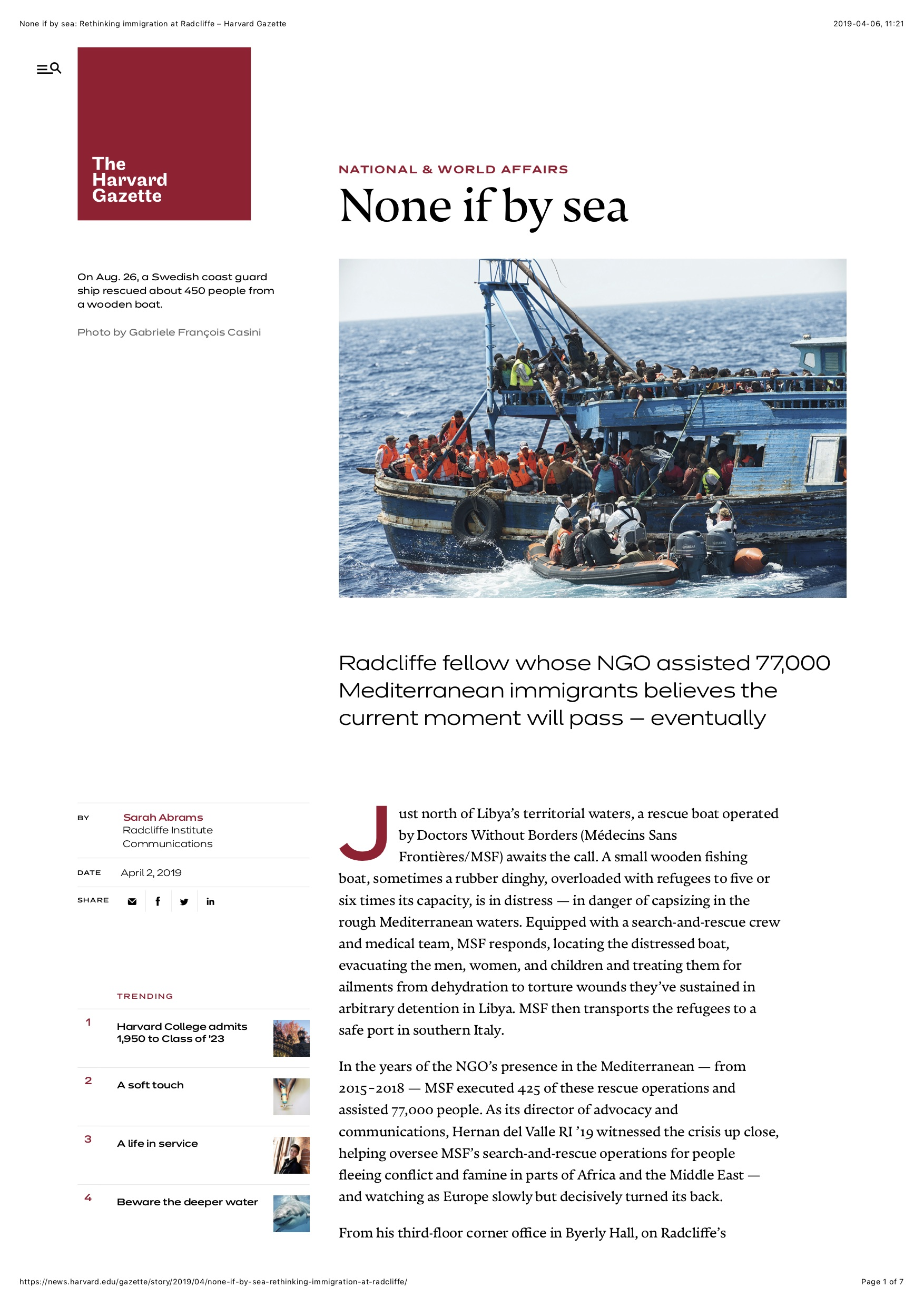None if by sea- Rethinking immigration at Radcliffe – Harvard Gazette copy.jpg