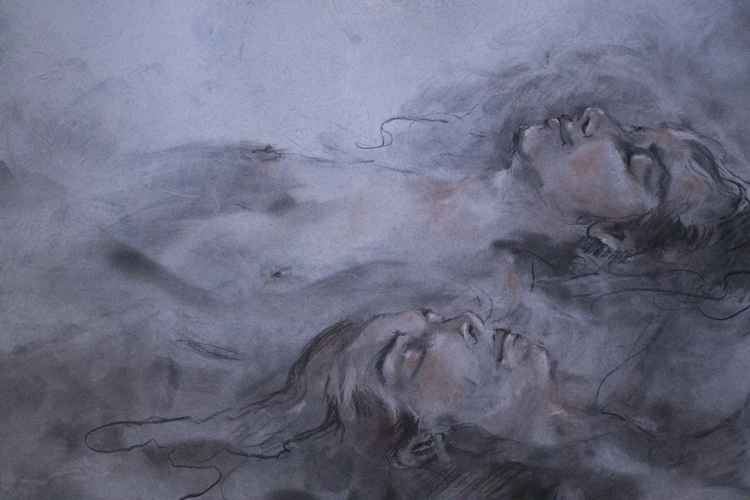 """Charcoal and Chalk on Tinted Paper, 20""""x30"""""""