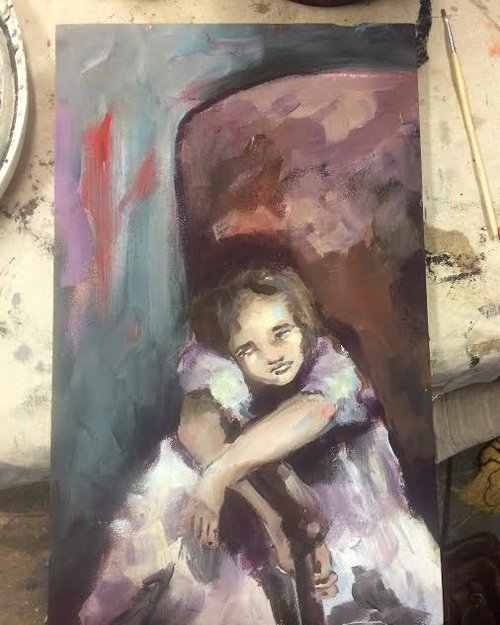 "Latex Paint on Muslin, 7""x11"""