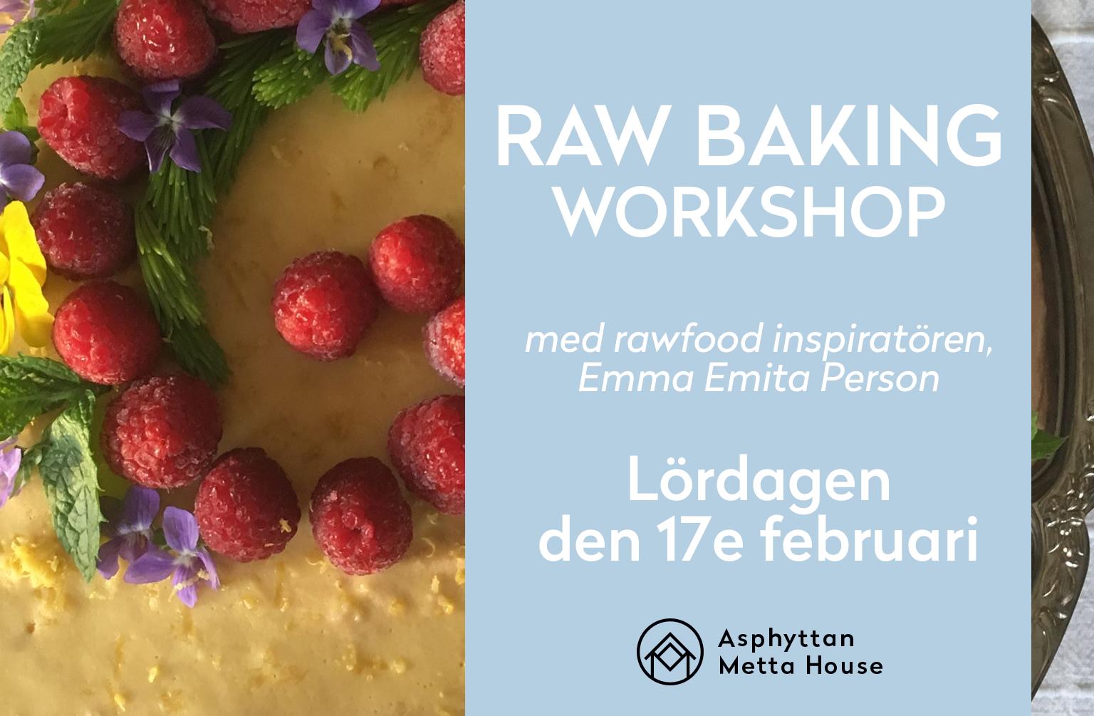 Raw baking-workshop, 17/2 - Vad: Vi håller en raw baking-workshop, tillsammans med Emma Emita Person - som är en fantastisk raw food-inspiratör. Hon ska lära oss grunderna i hur raw baking faktiskt funkar, vilka råvaror som passar bäst för de olika säsongerna och sen får vi faktiskt baka tre av hennes favoriter.När: Kl 14.00-17.00, lördagen den 17e februari 2018Pris: 600 kr per person (föranmälan krävs - se FB-event nedan)Adress: Asphyttan 133 - i Hembygdsgården, bredvid oss, Asphyttan Metta HouseFör mer detaljer - se Facebook-eventet här.