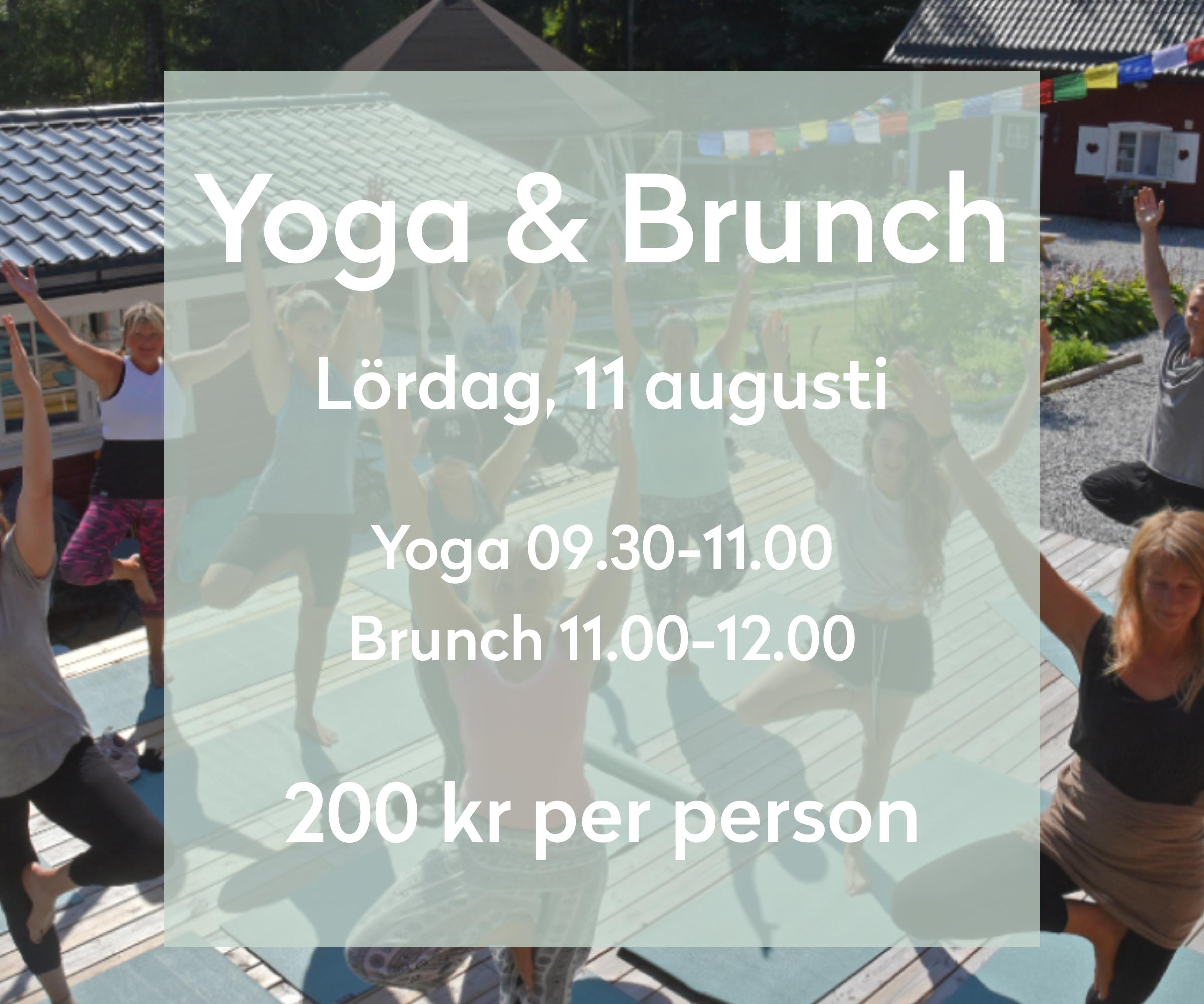 Yoga & Brunch - Den 11e augusti bjuder vi in 20 glada för en go yoga klass som sedan avrundas med en vegetarisk brunch.Föranmälan krävs - smsa till 0703-751627 eller mejla oss på info@asphyttanmettahouse.se - du får sedan ett svar om du fått plats eller inte.Peppen är enorm!