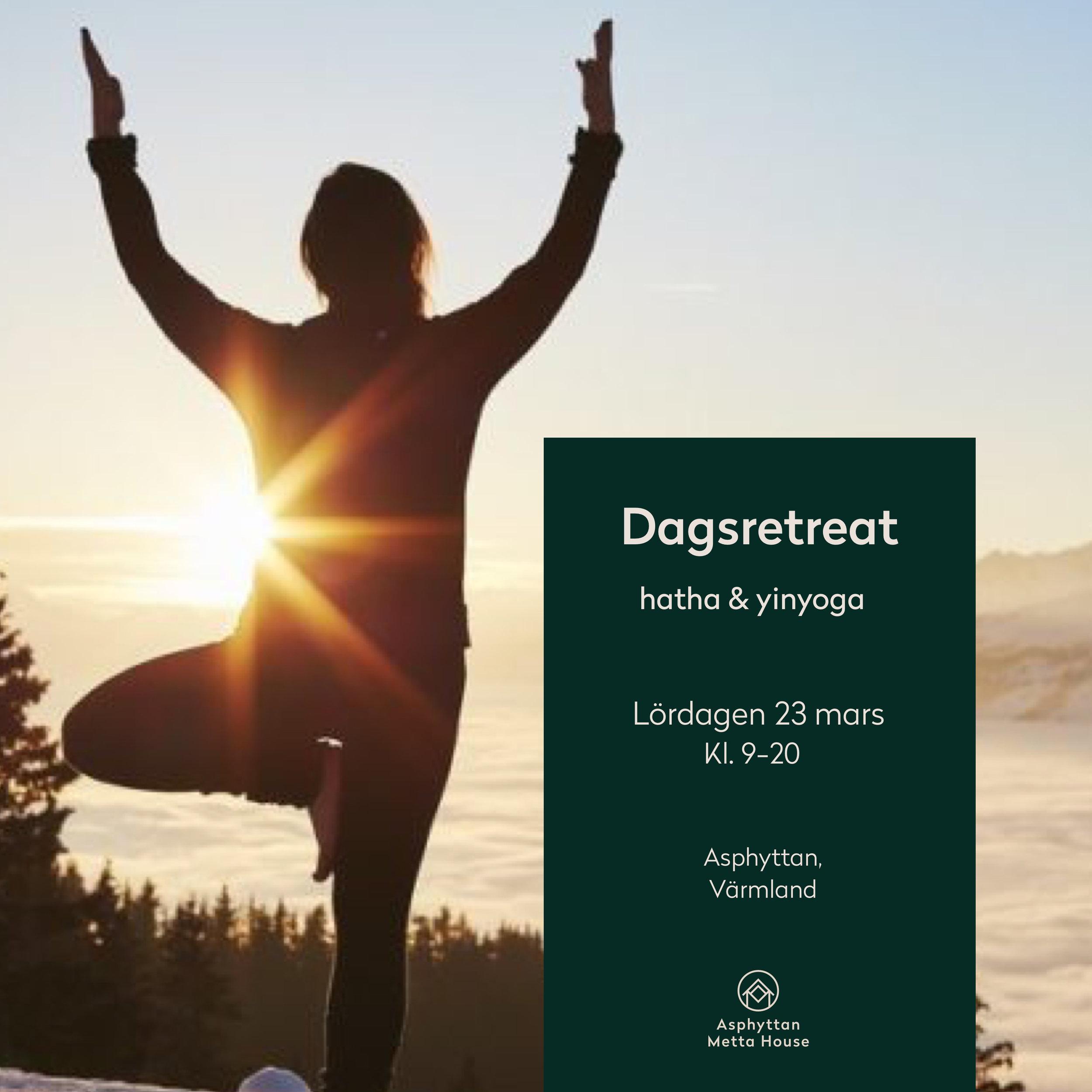 Dagsretreat - yin & yang - Är du nyfiken på yoga eller sugen på ny inspiration för din yogapraktik?Lördagen den 23 mars bjuder vi in 20 personer att ägna en hel dag åt att känna kroppen i rörelse, stillhet och vila. Vi kommer praktisera flera yogaformer: hatha, yin och yoga nidra. För när vi kombinerar yin (vila) och yang (aktivitet) skapar vi en balans och ökad välbefinnande på alla plan.Läs om retreatet här