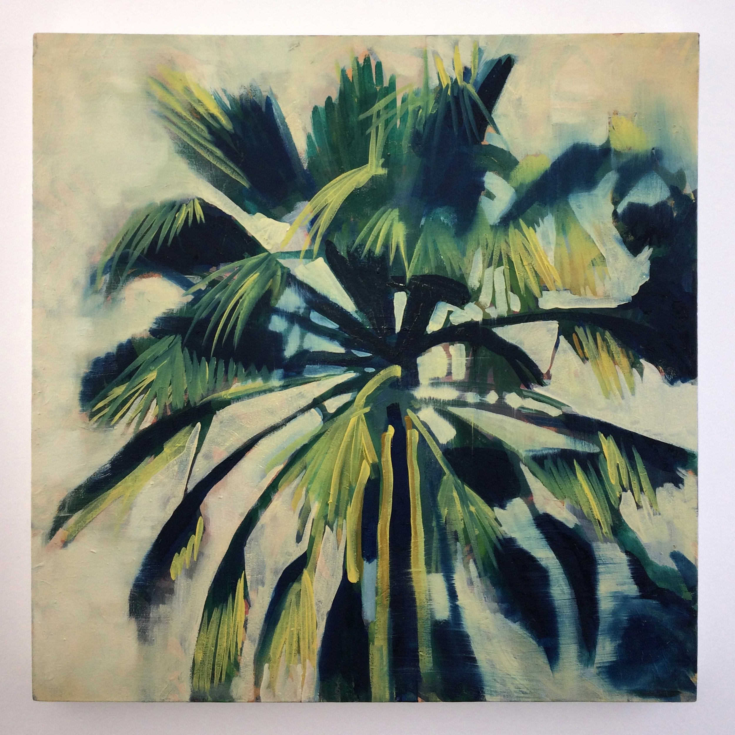 ' Beneath The Palms'   Leila Walter  Oil on canvas  740 x 790 x 40 mm  R 6 000.00