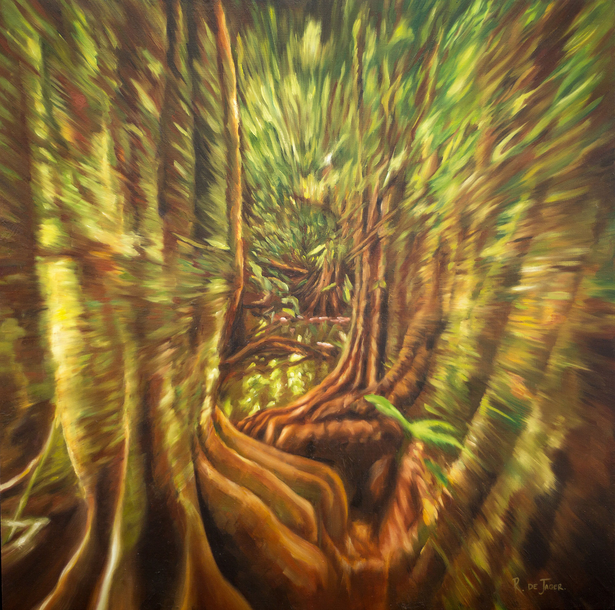 ' Welcome to Your Jungle (Series) '   Ronél de Jager  Oil & Mixed media on board  500 x 500 x 55 mm  R 10 000.00 each excl. vat (each)
