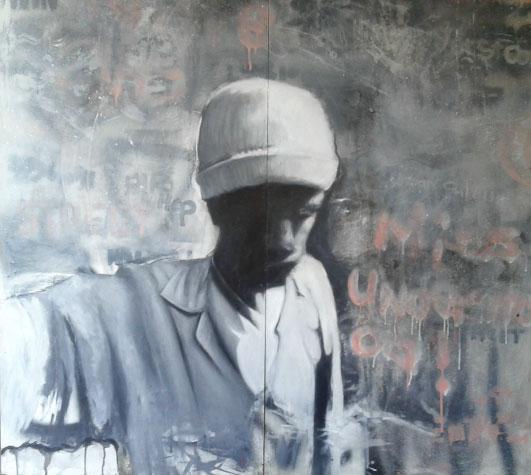 ' Pinhole Camera Selfie' , Ludumo Maqabuka, Mixed media on canvas, 122 x 120 cm.