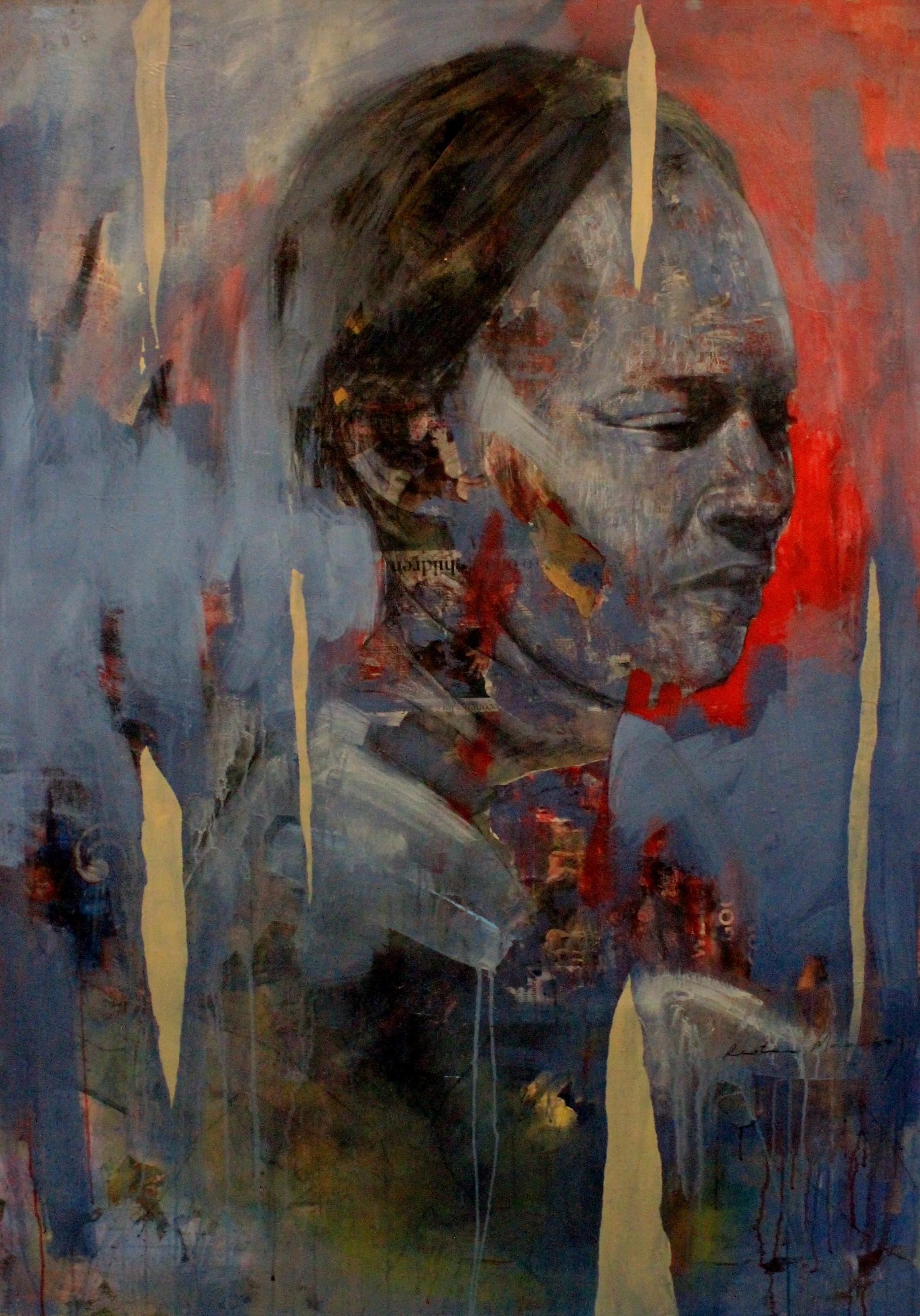 ' Sangoma'   Restone Maambo  Collage and Mixed Media on Canvas  1170 x 1660 x 40 mm  2018