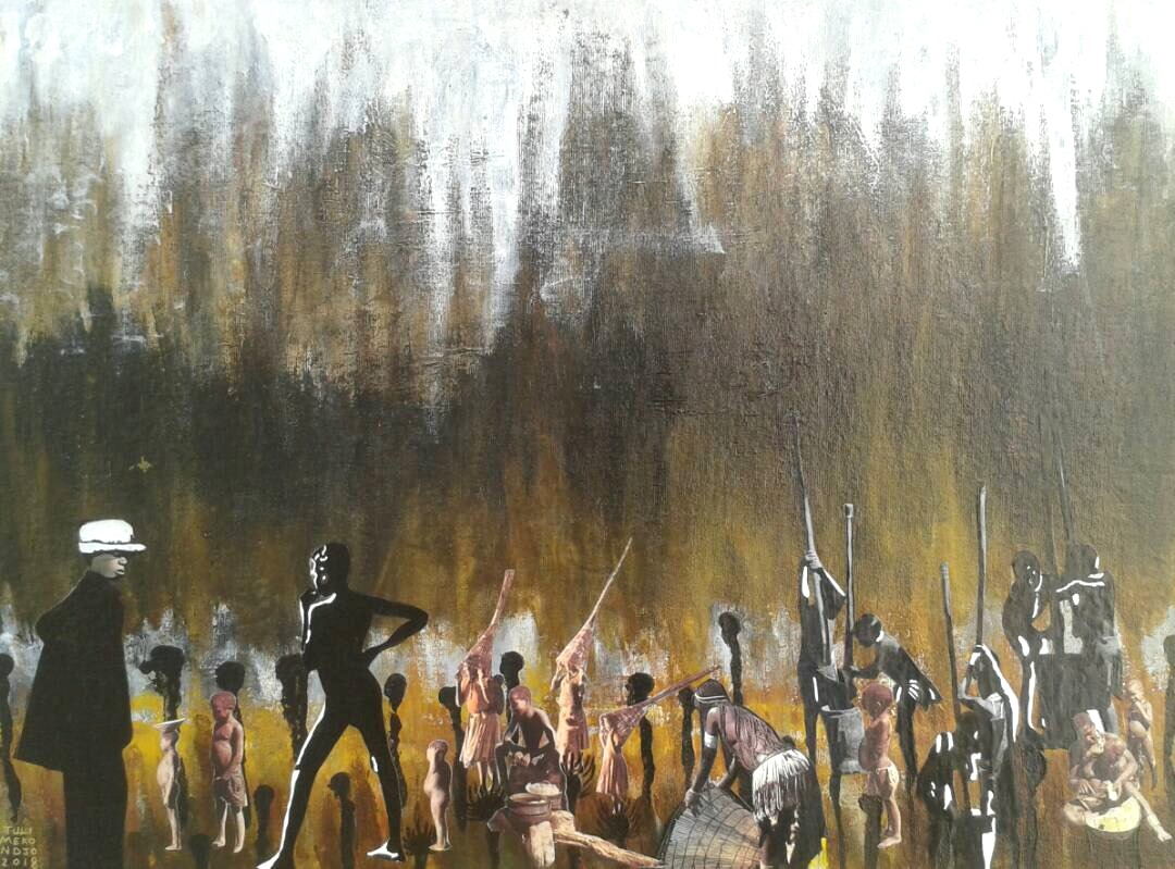 The second coming of Tate   Tuli Mekondjo  Mixed Media on Panel   640 x 610 mm  R 4 900.00 excl. vat
