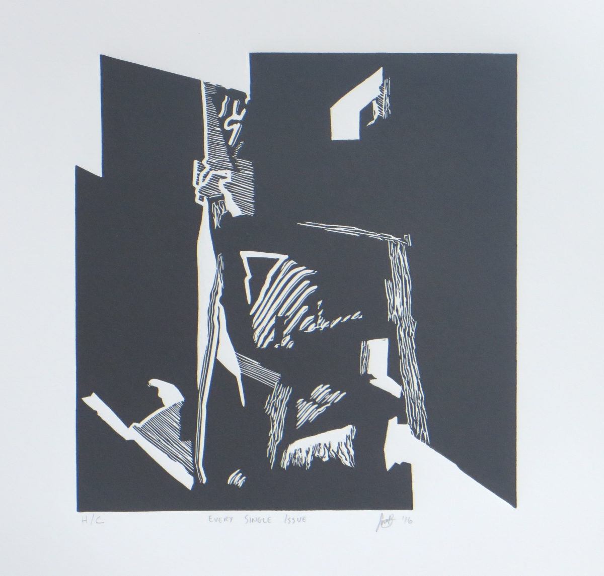 Every Single Issue   Simnikiwe Buhlungu  Linocut  335 x 335 mm  Edition of 20  R 1 340,00 excl. vat