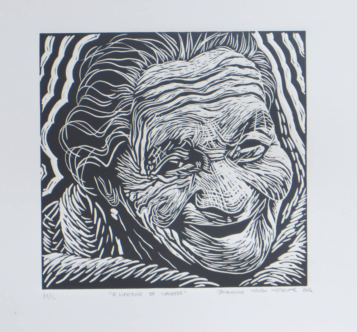 A lifetime of laughter   Jacque Wetselaar  Linocut  335 x 335 mm  Edition of 20  R 1 340.00 excl. vat