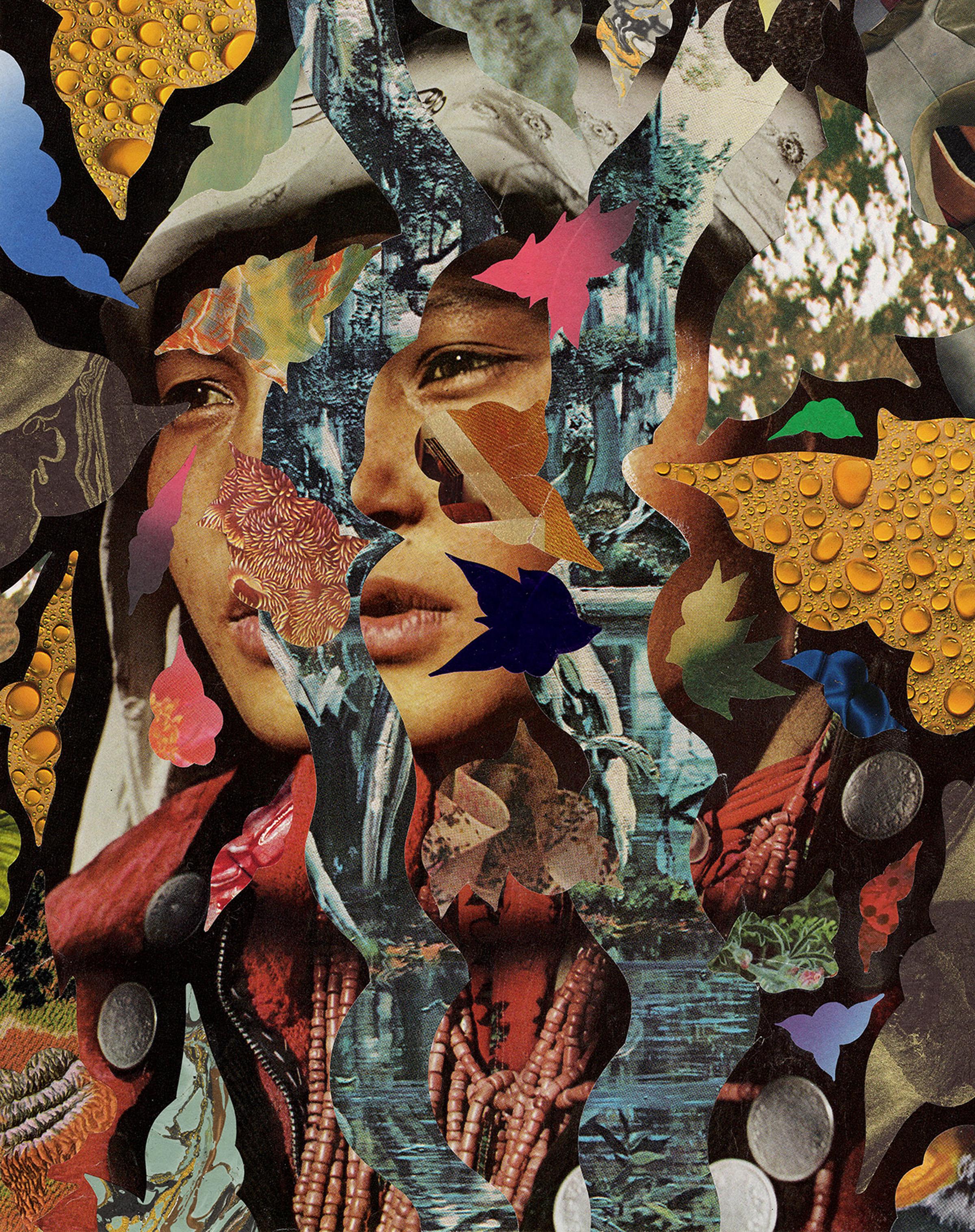 "Hisham Bharoocha   InterDimensional   Collage on Paper  8.3 x 11.7"""