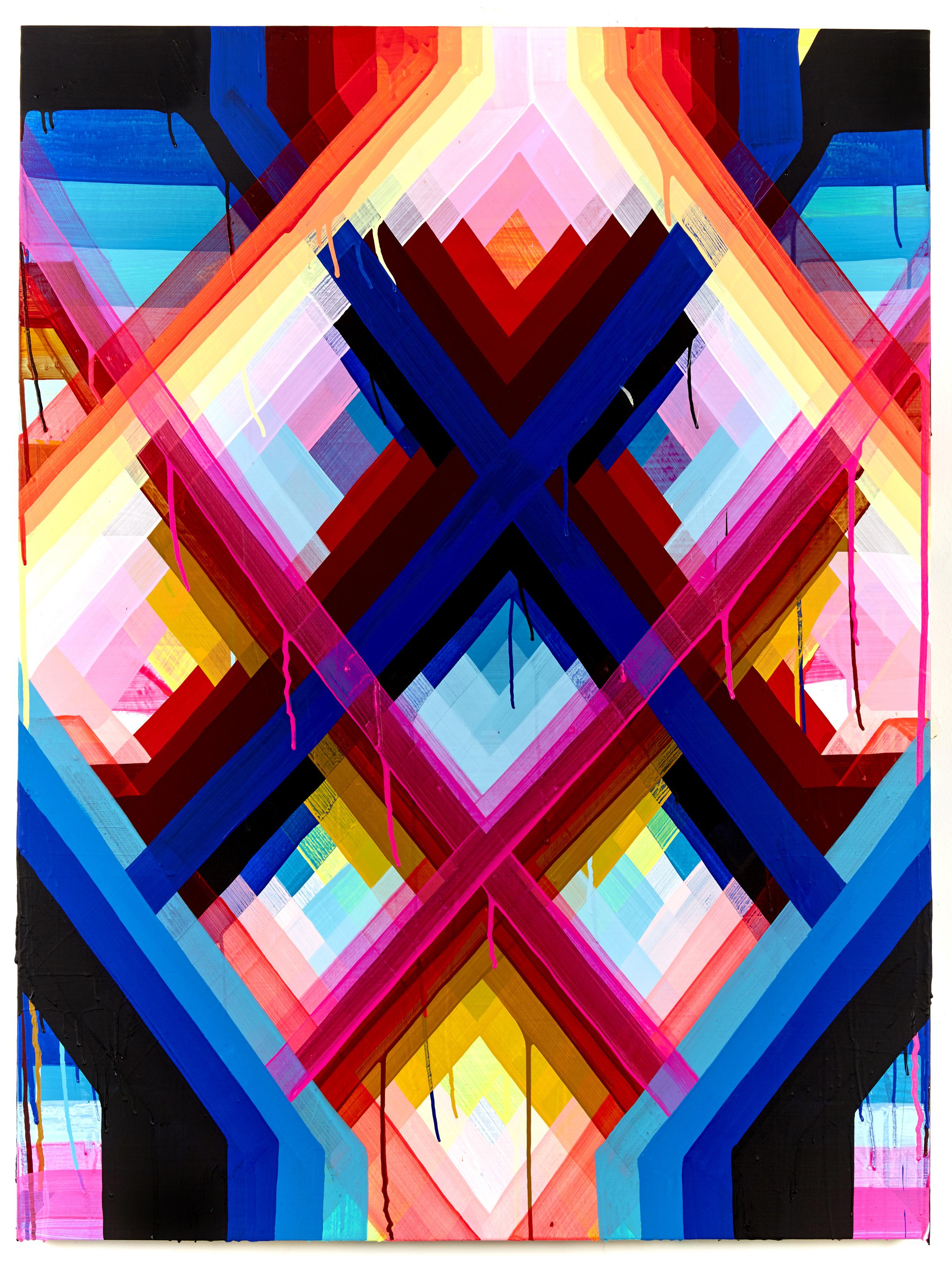 "Maya Hayuk   The Radiant #3 , 2017  Acrylic on Panel  36 x 48"""