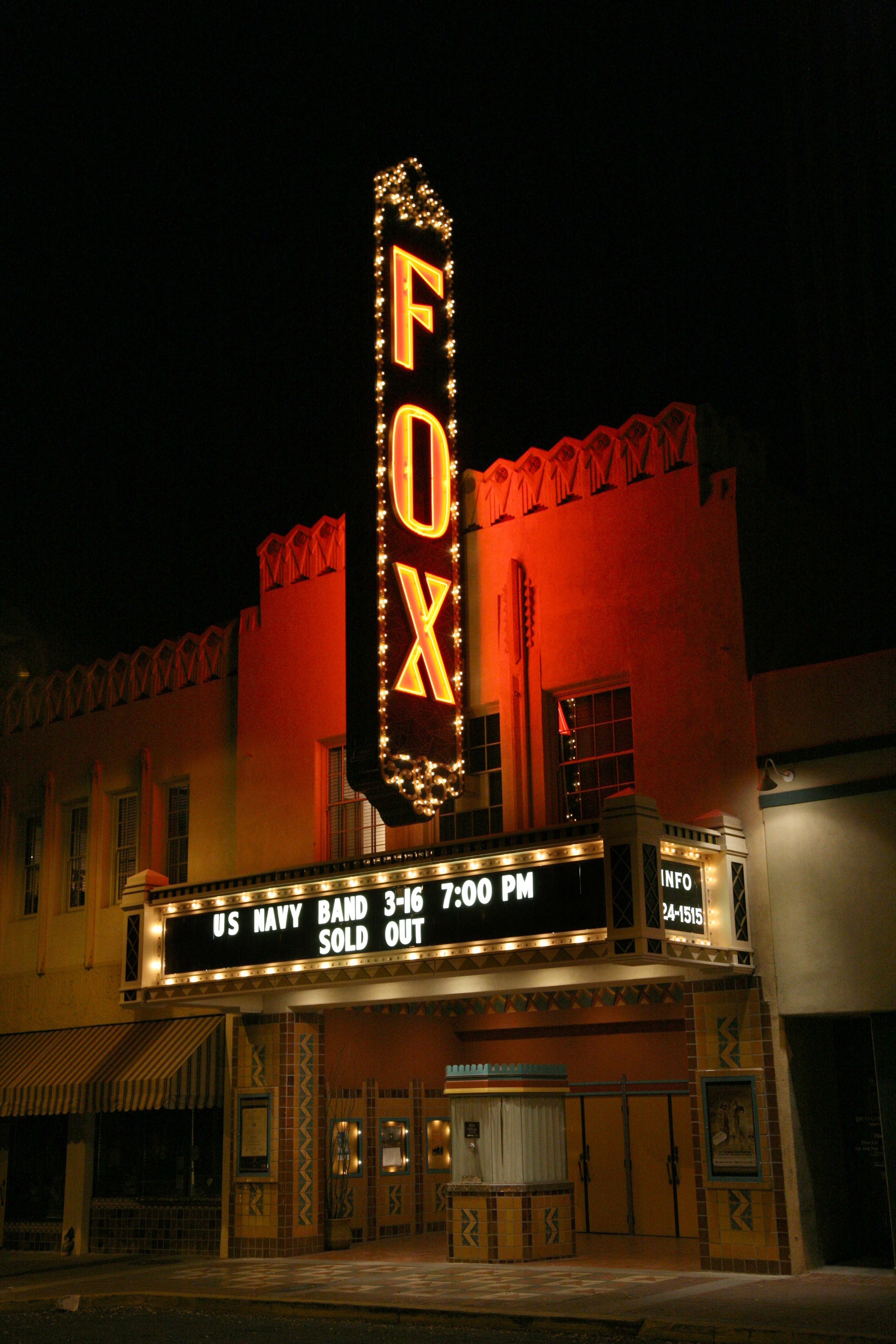 Tucson Entertainment History - The Fox Theater  The art deco styled Fox Theater in Tucson was built in 1929, closed in 1974, and renovated from 1999 to 2005 at a cost of $13 million. The Fox now features music performance, comedy and seasonal movies -  →  Upcoming shows at the Fox.