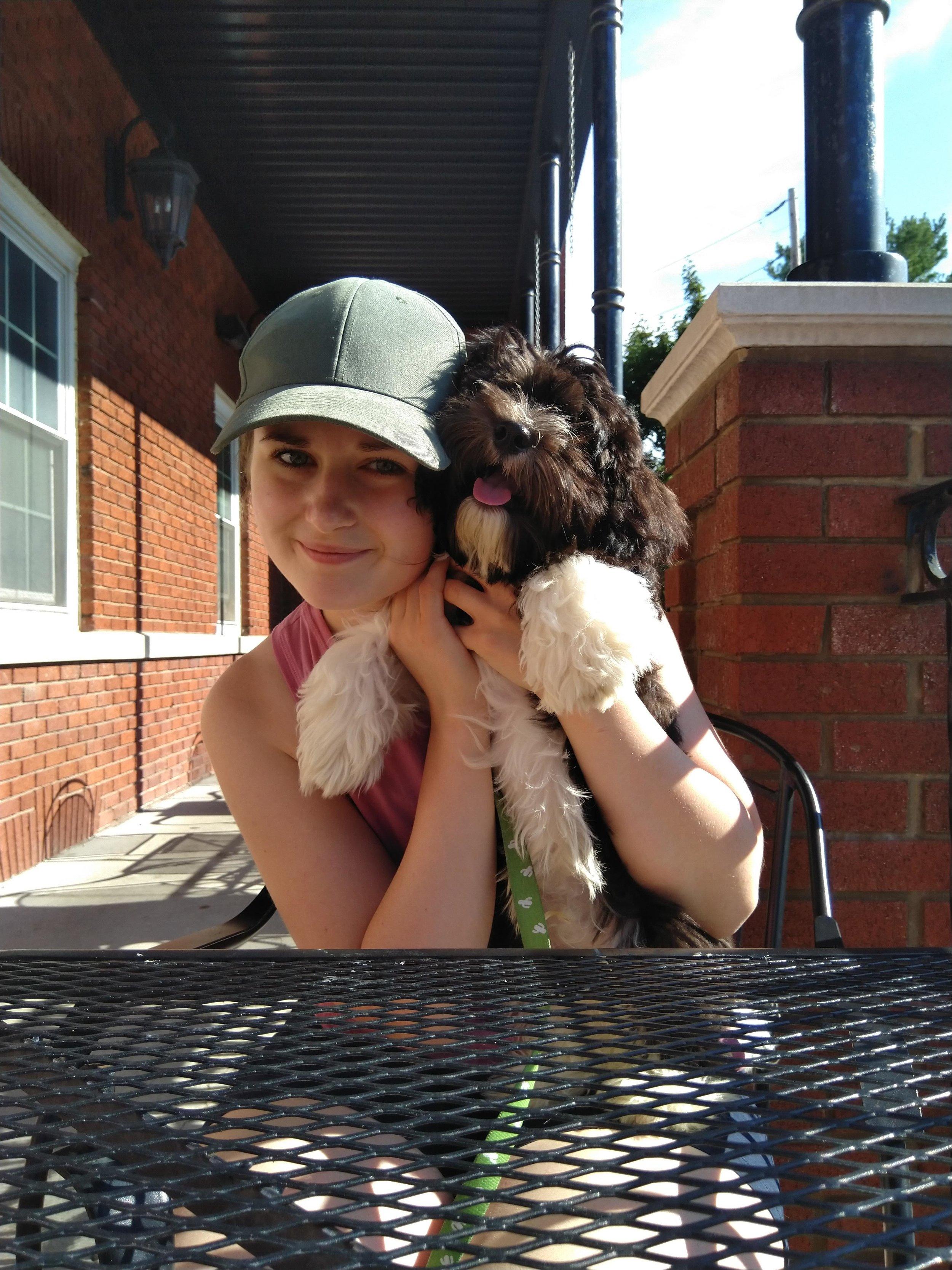 Me (Tara) and my adorable pupper-nephew.