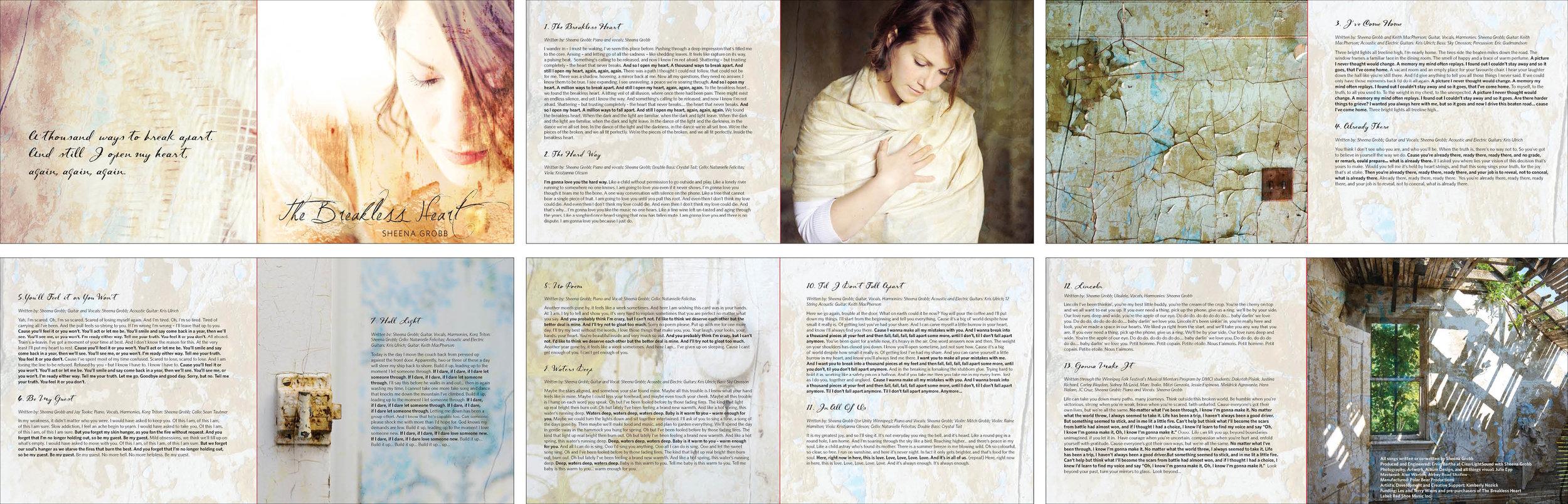 Sheena Grobb The Breakless Heart - album artwork (photography/design)