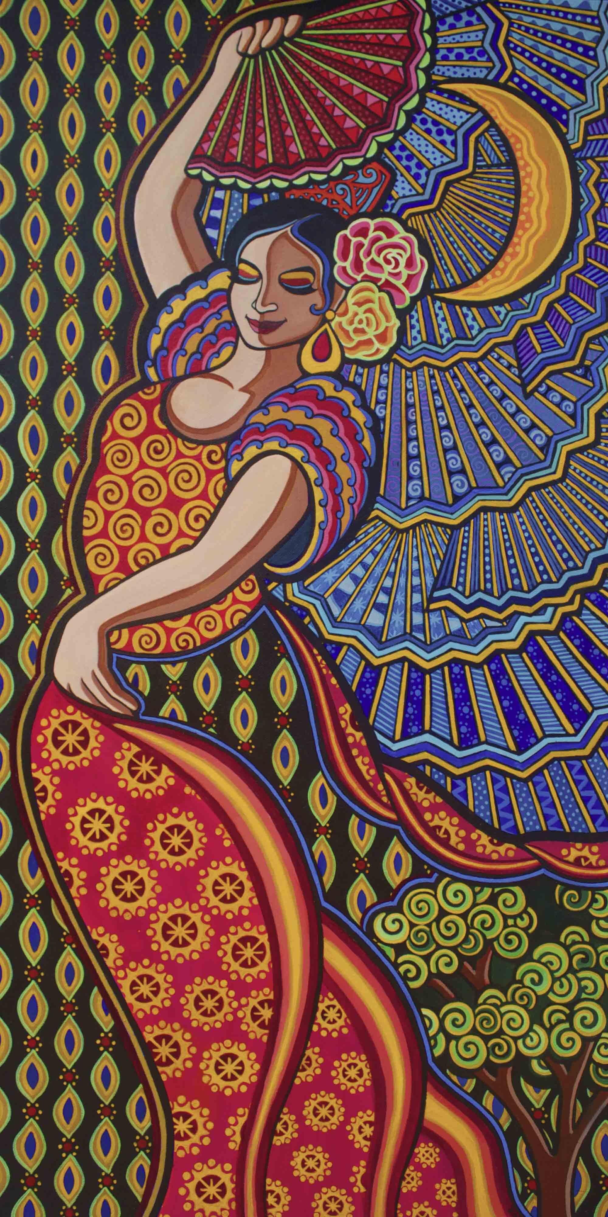 """Flamenco by Night"" 36"" x 18"" acrylic painting"