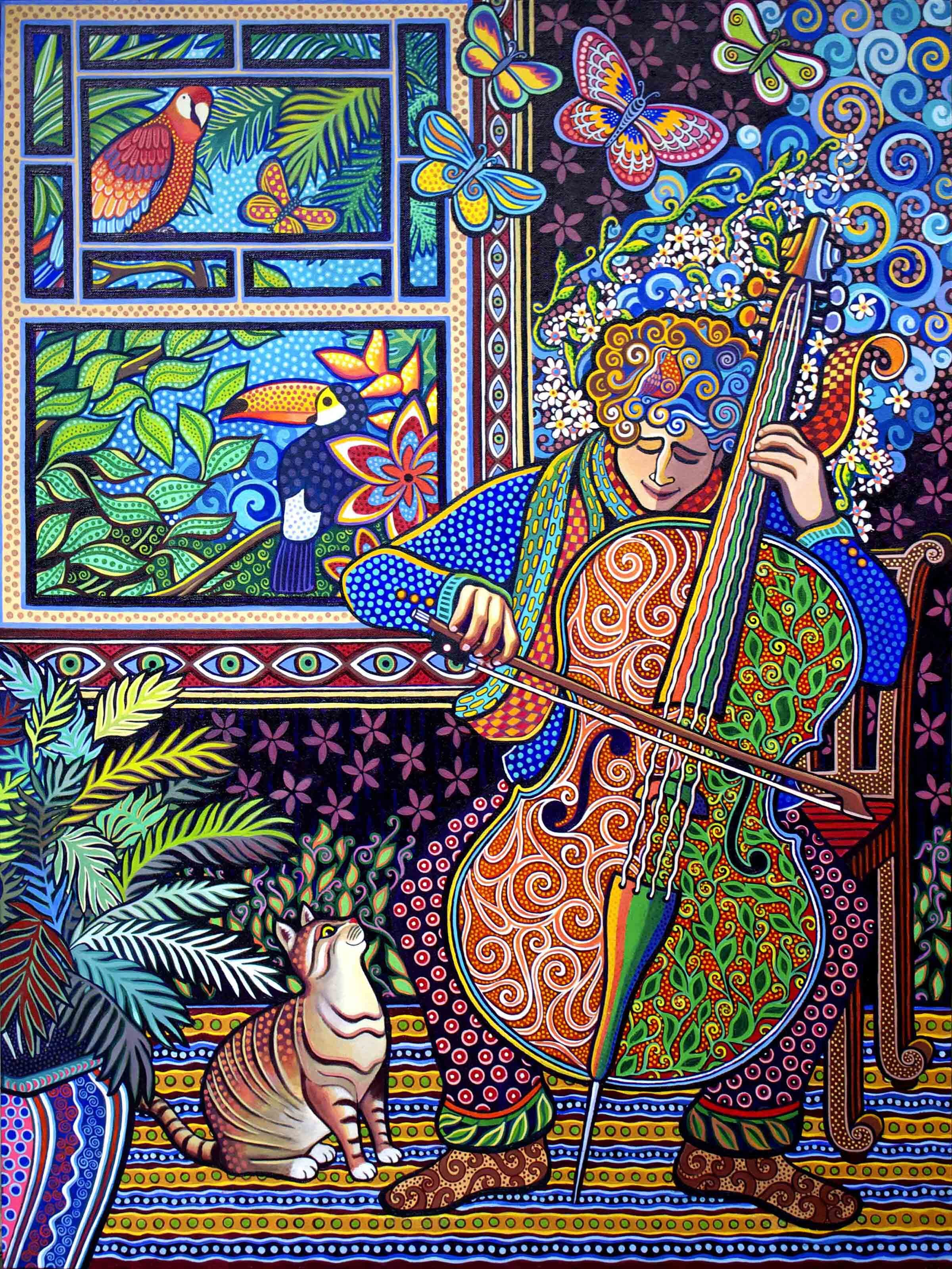 """""""Cello Player"""" 40"""" x 30"""" acrylic painting"""