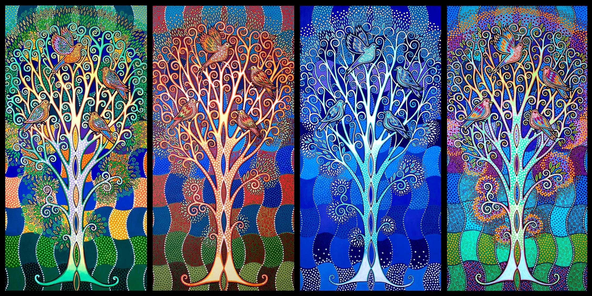 """Four Seasons"" 4 framed panels each 30"" x 15"""