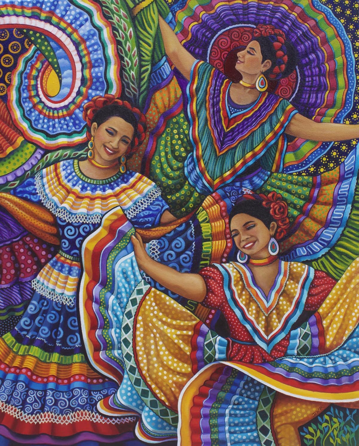 """""""Mexican Folk Dancers"""" 30"""" x 24"""" oil painting"""