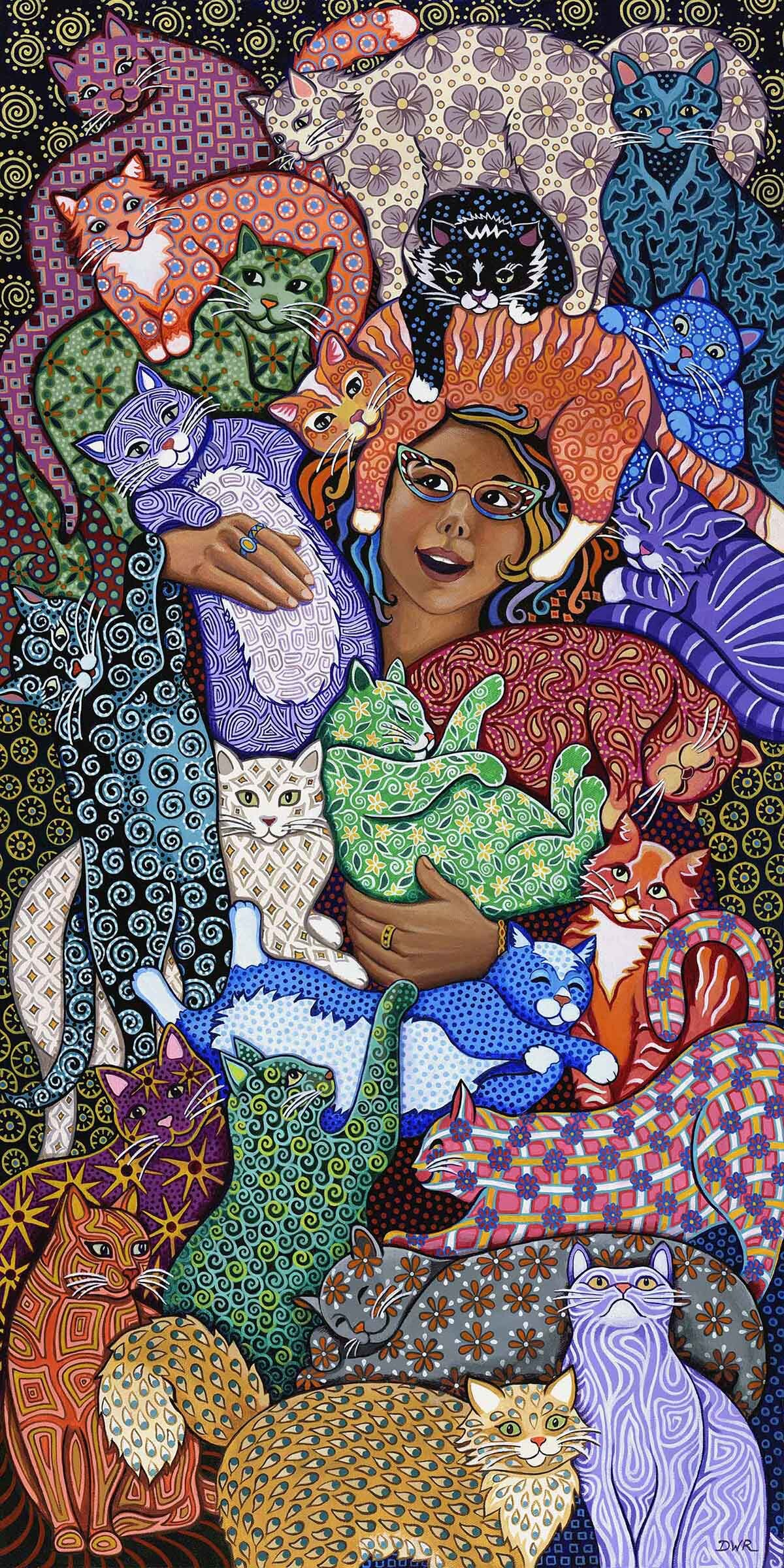 """""""The Cat Lady"""" 36"""" x 18"""" acrylic painting"""