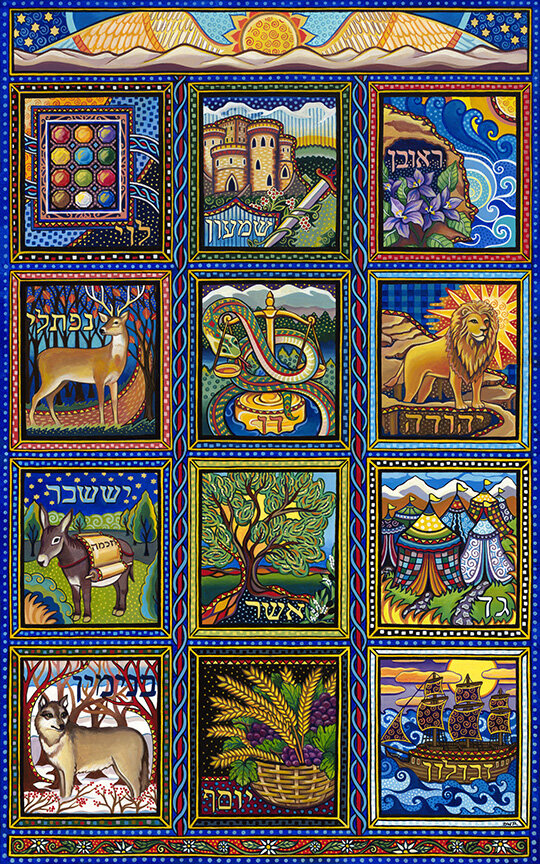 """""""The Twelve Tribes of Israel"""" 48"""" x 30"""" acrylic painting (Comission)"""