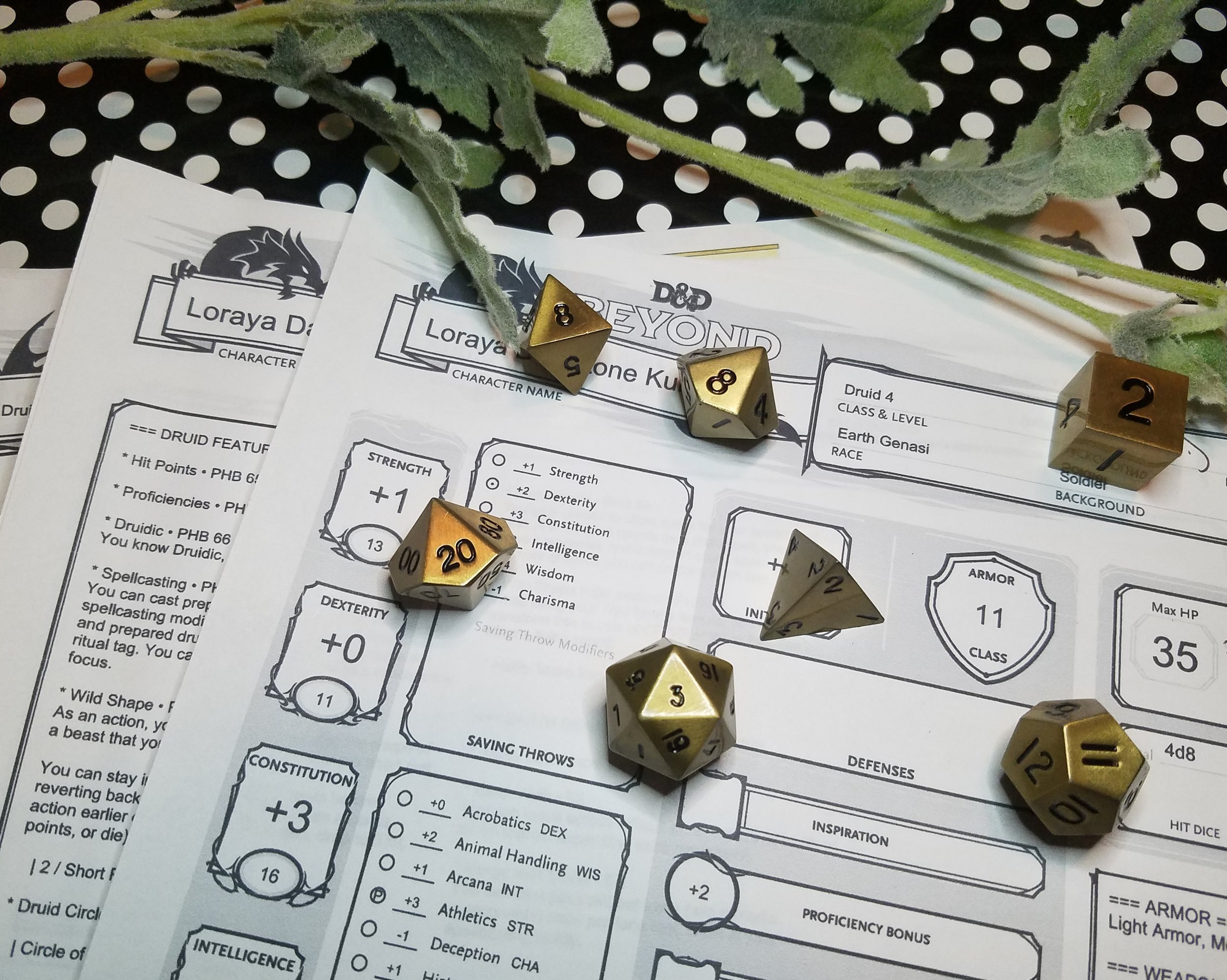 Jess has her dice ready to go with her Loraya character sheet.