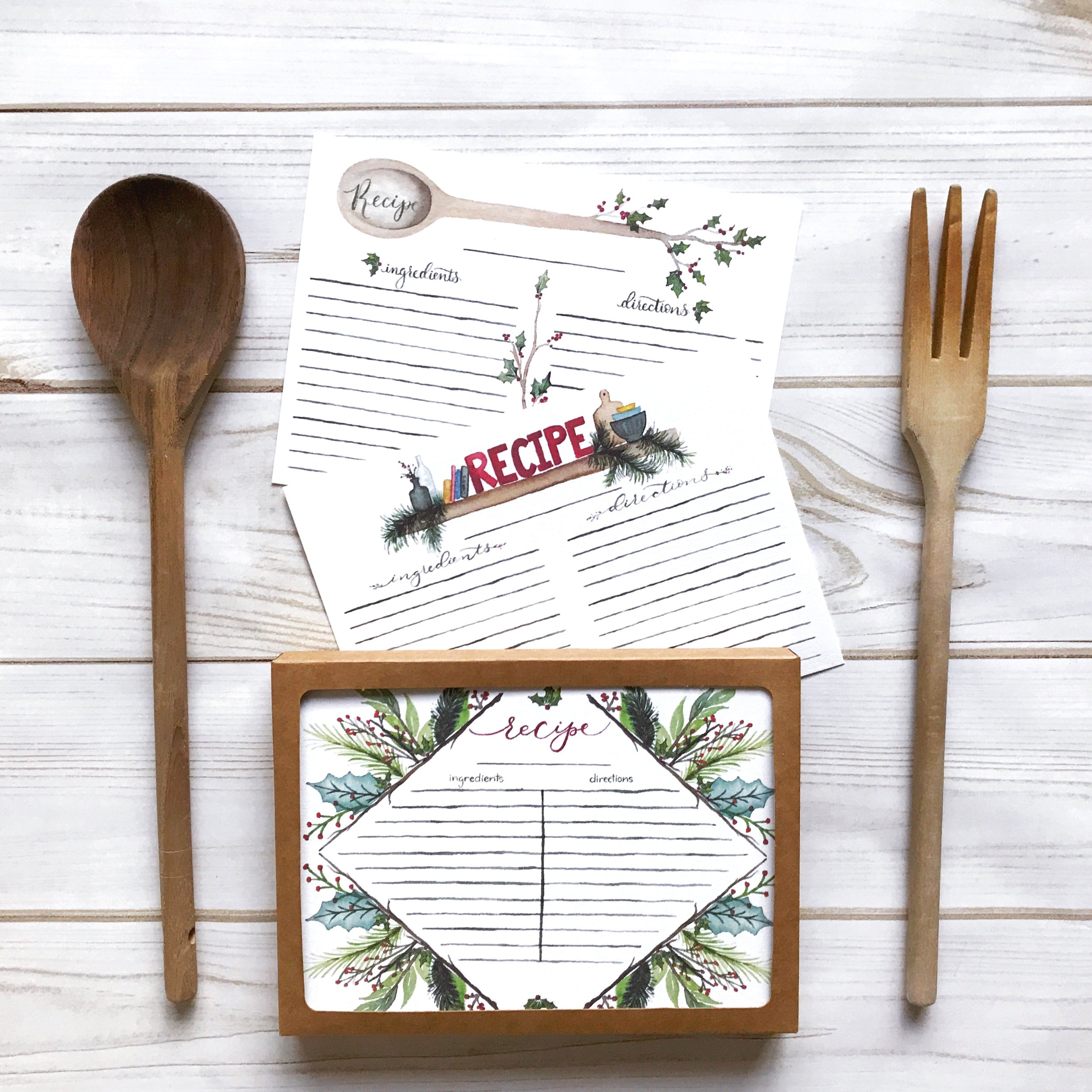 """""""gorgeous designs!"""" - These holiday recipe cards are so beautiful from the packaging to the actual cards. The paper is nice and sturdy with gorgeous designs. Can't wait to write down some holiday recipes!— D.P."""