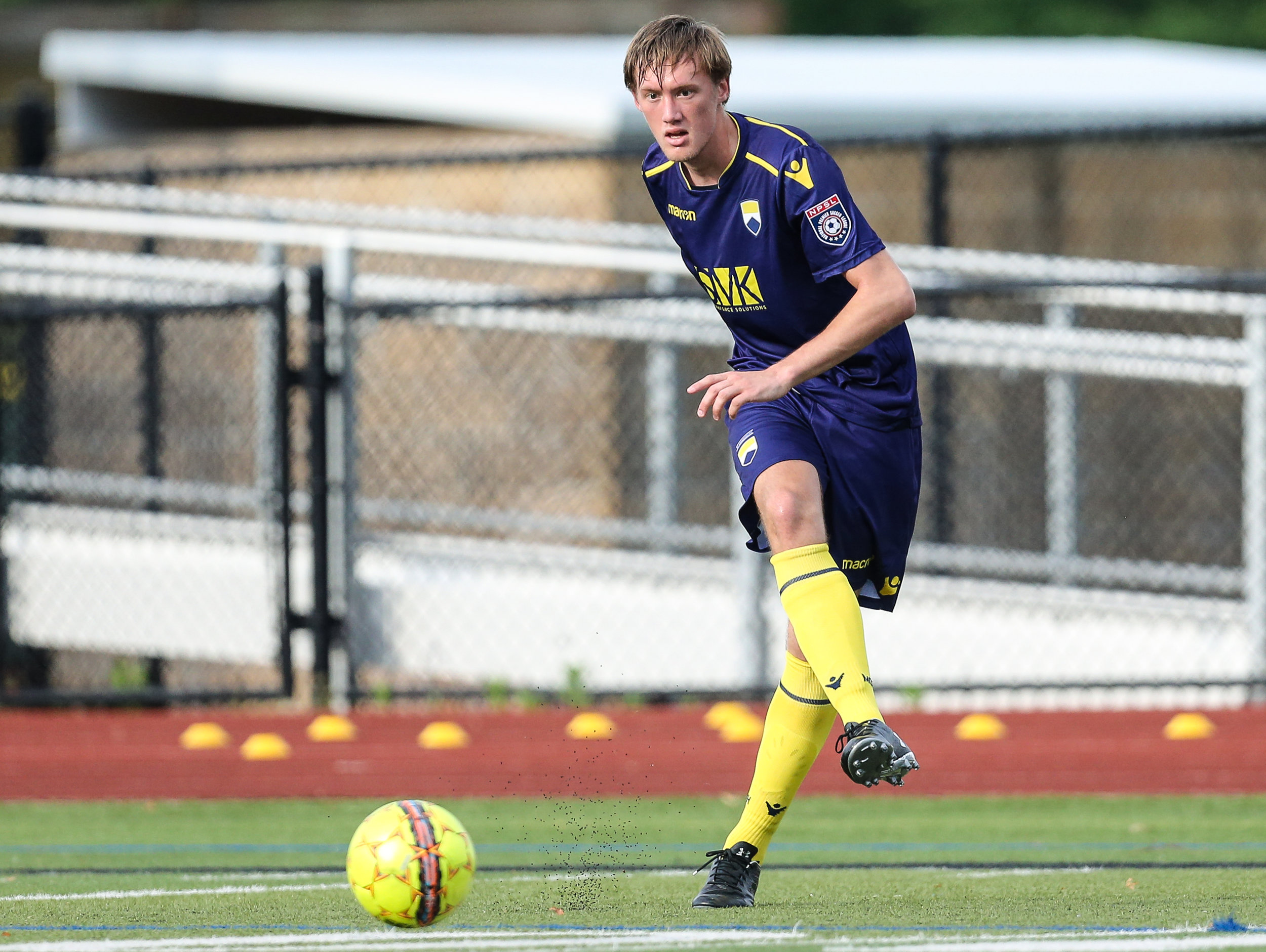 Zachary Pereira of Monmouth University in action against Hershey FC