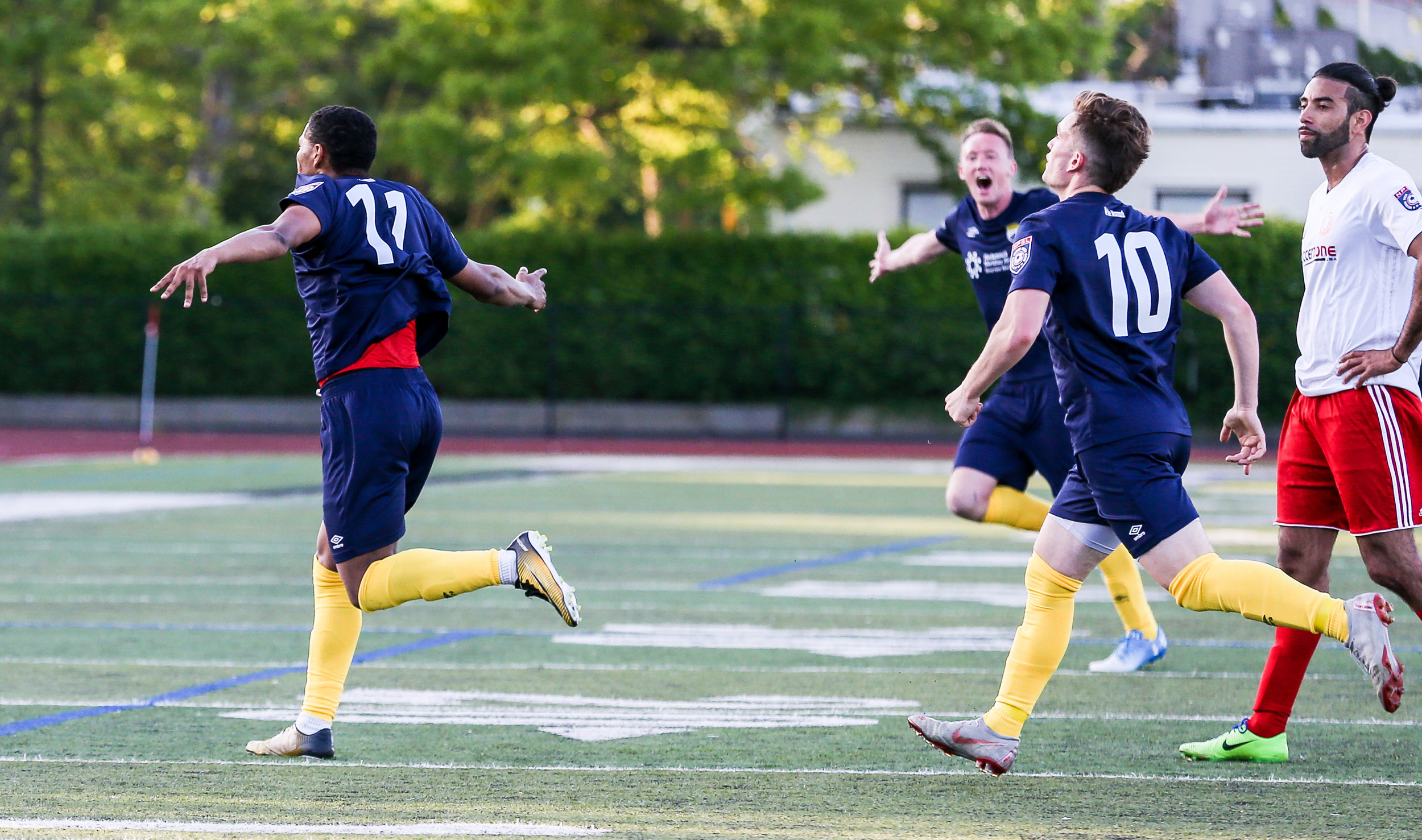 Forward Regsan Watkins scored in the 55th minute to extend FC Monmouth's lead on Saturday night.
