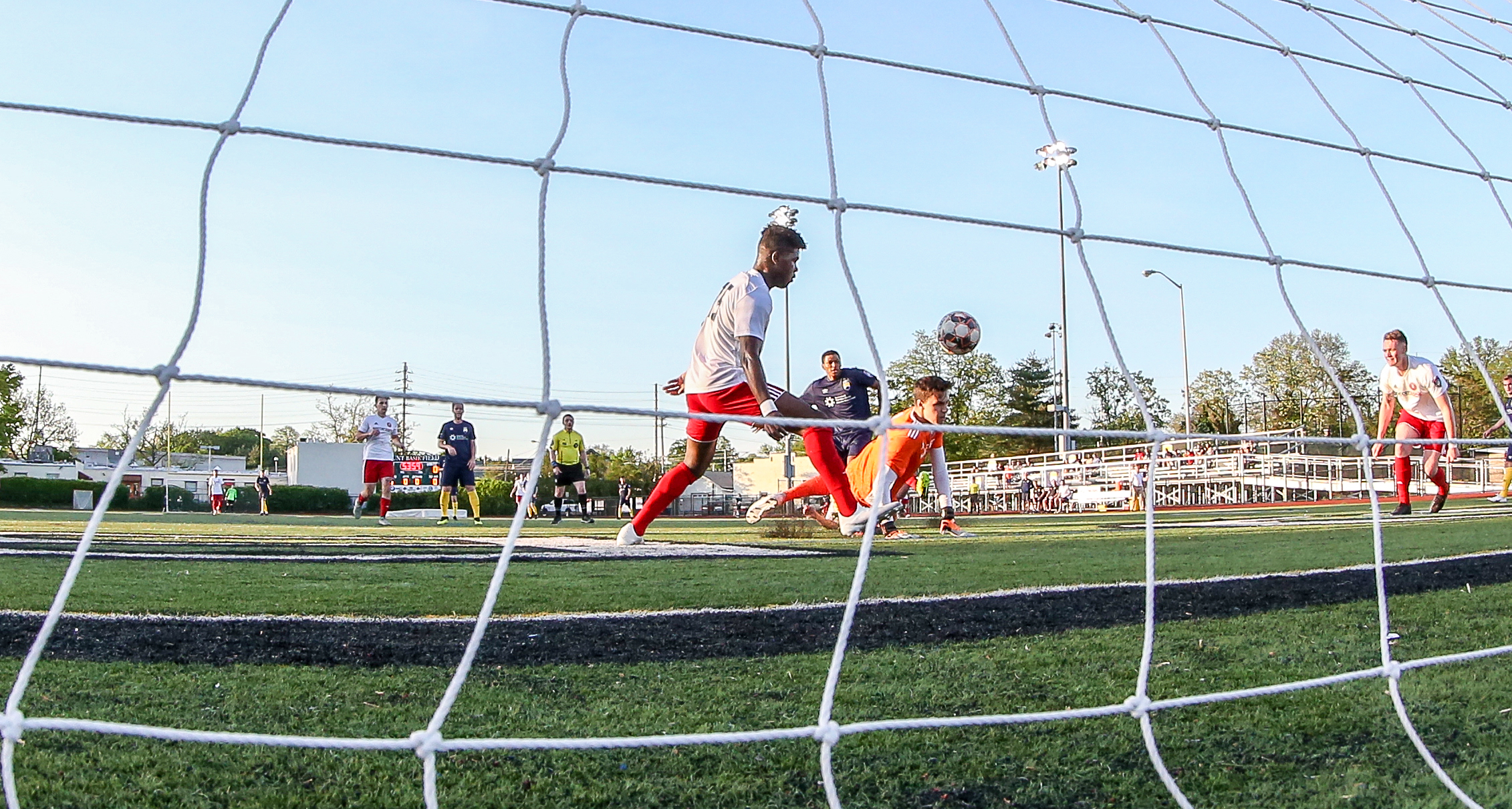Forward Regsan Watkins scored the second goal for FC Monmouth in the 55th minute on Saturday night.