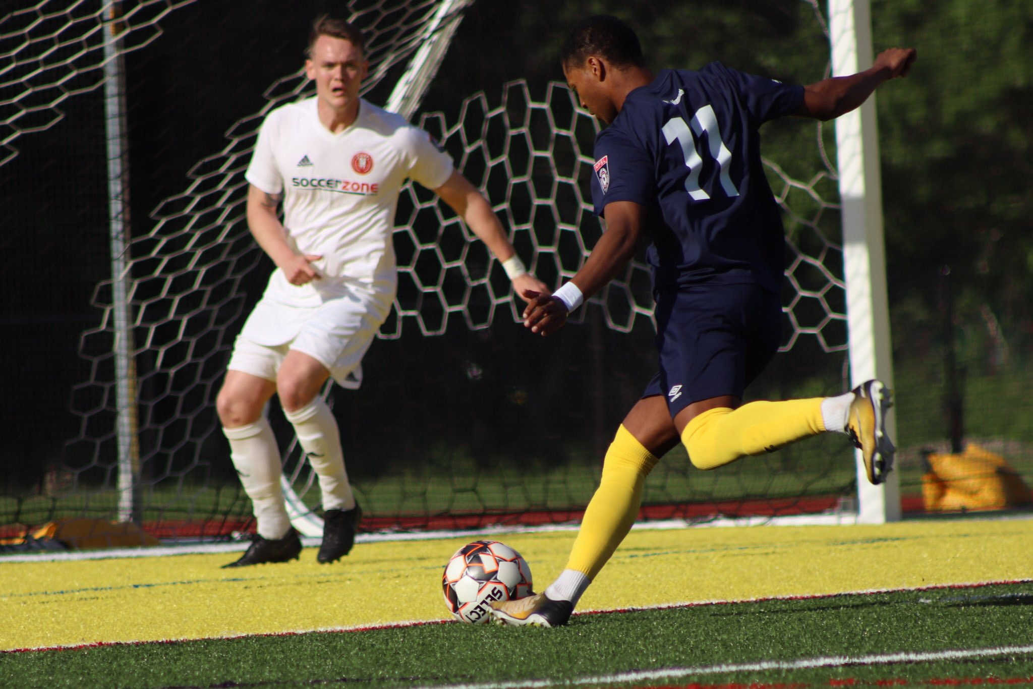 Forward Regsan Watkins scored the lone goal for FC Monmouth in Wednesday night's loss.