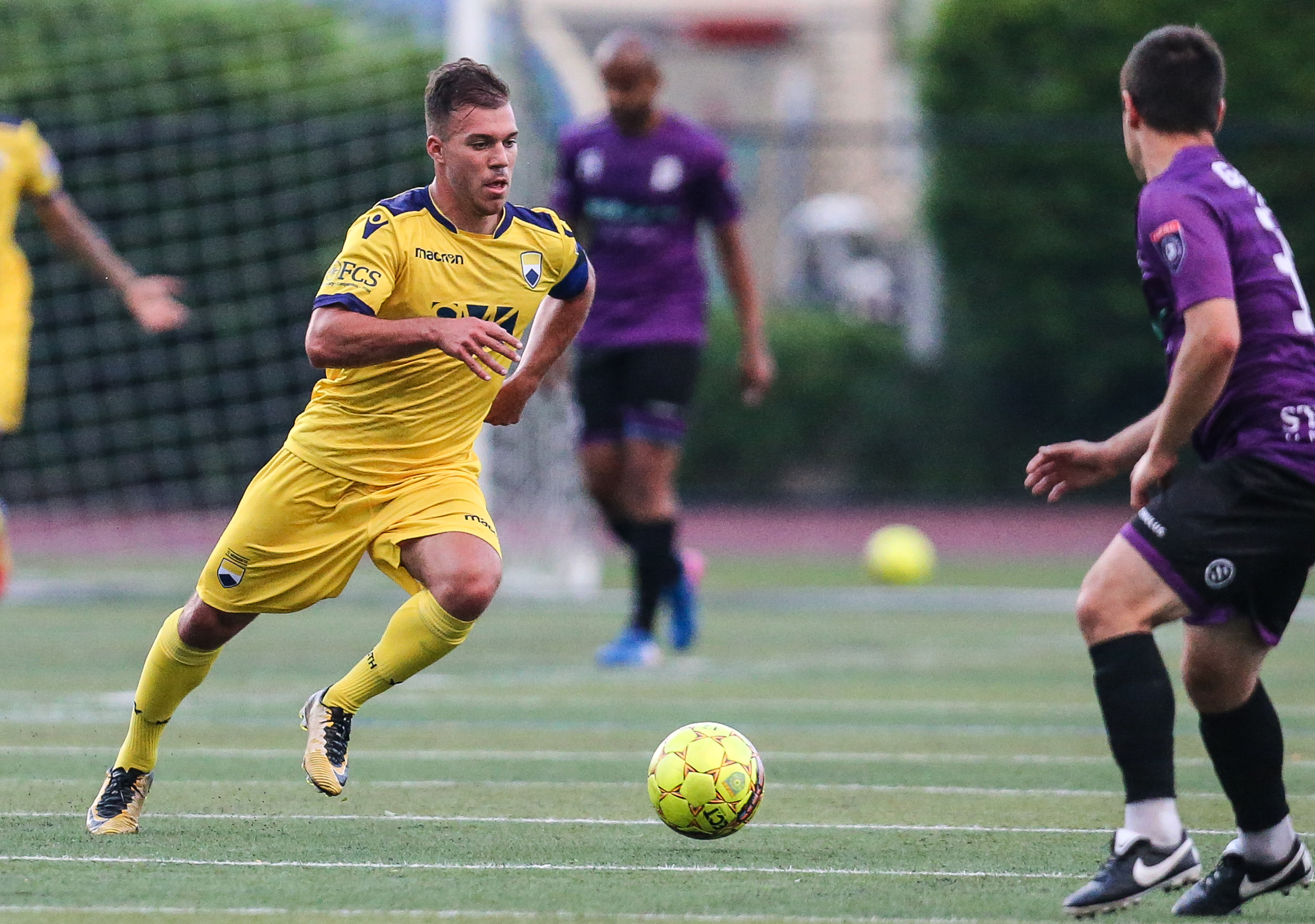 Midfielder John Antunes scored the first goal in FC Monmouth history against Atlantic City FC in 2018.