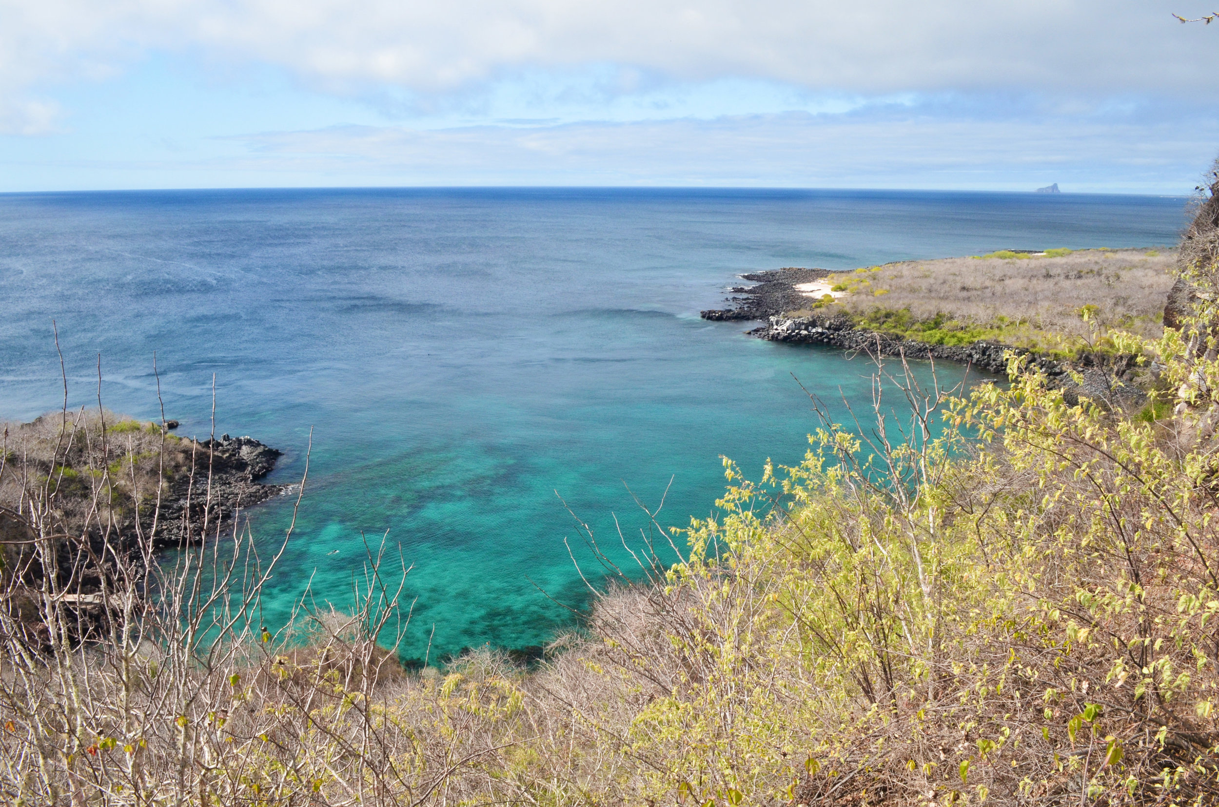 The lookout point over Tijeretas on San Cristóbal Island, with Kicker Rock on the horizon