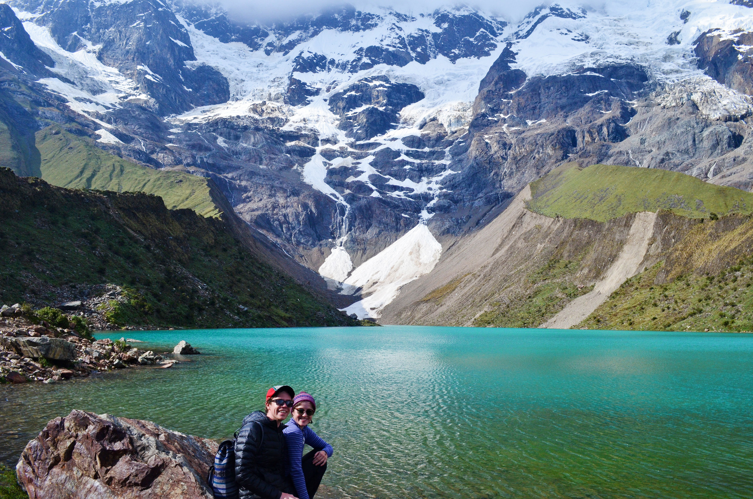 A great end to our first day of hiking the Salkantay trek: Laguna Humantay