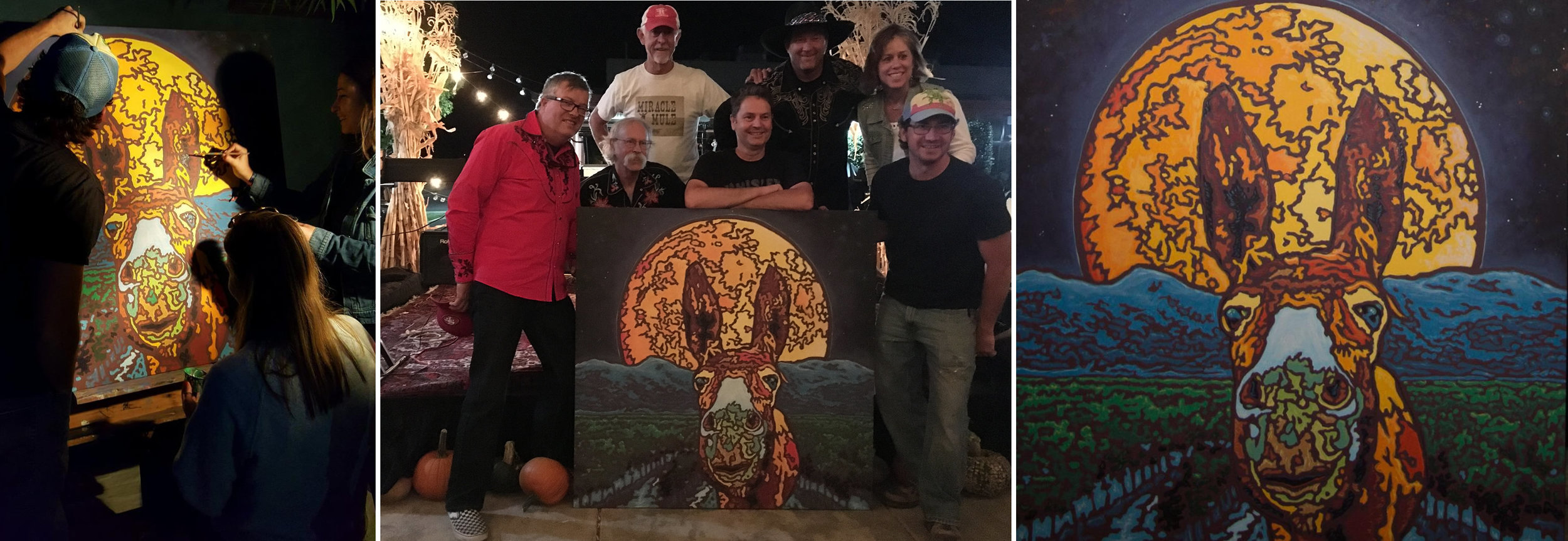 Left to right:  The work in progress, Artist William Callnan III (front right) posing with 7 Mules, the completed masterpiece