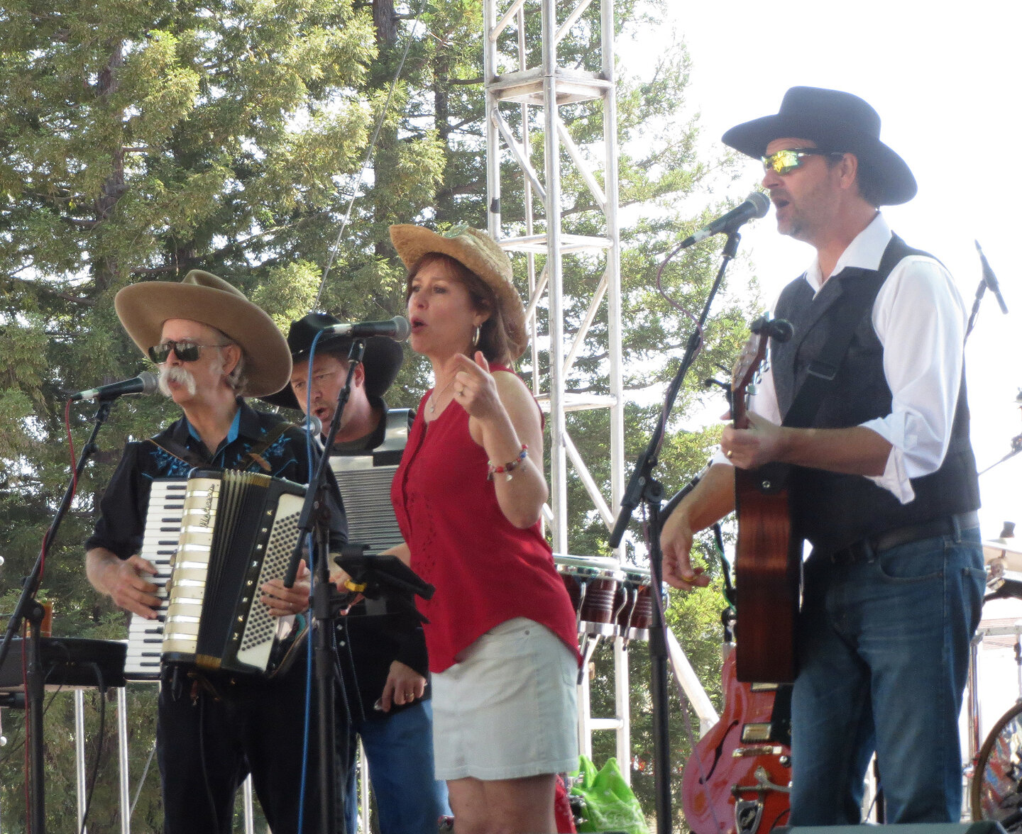 Sandy Geller at the Novato Art Wine & Music Festival (her 2nd gig as a Mule). With her L to R: Dick Bay, Brian Dettor, Geoff Mack