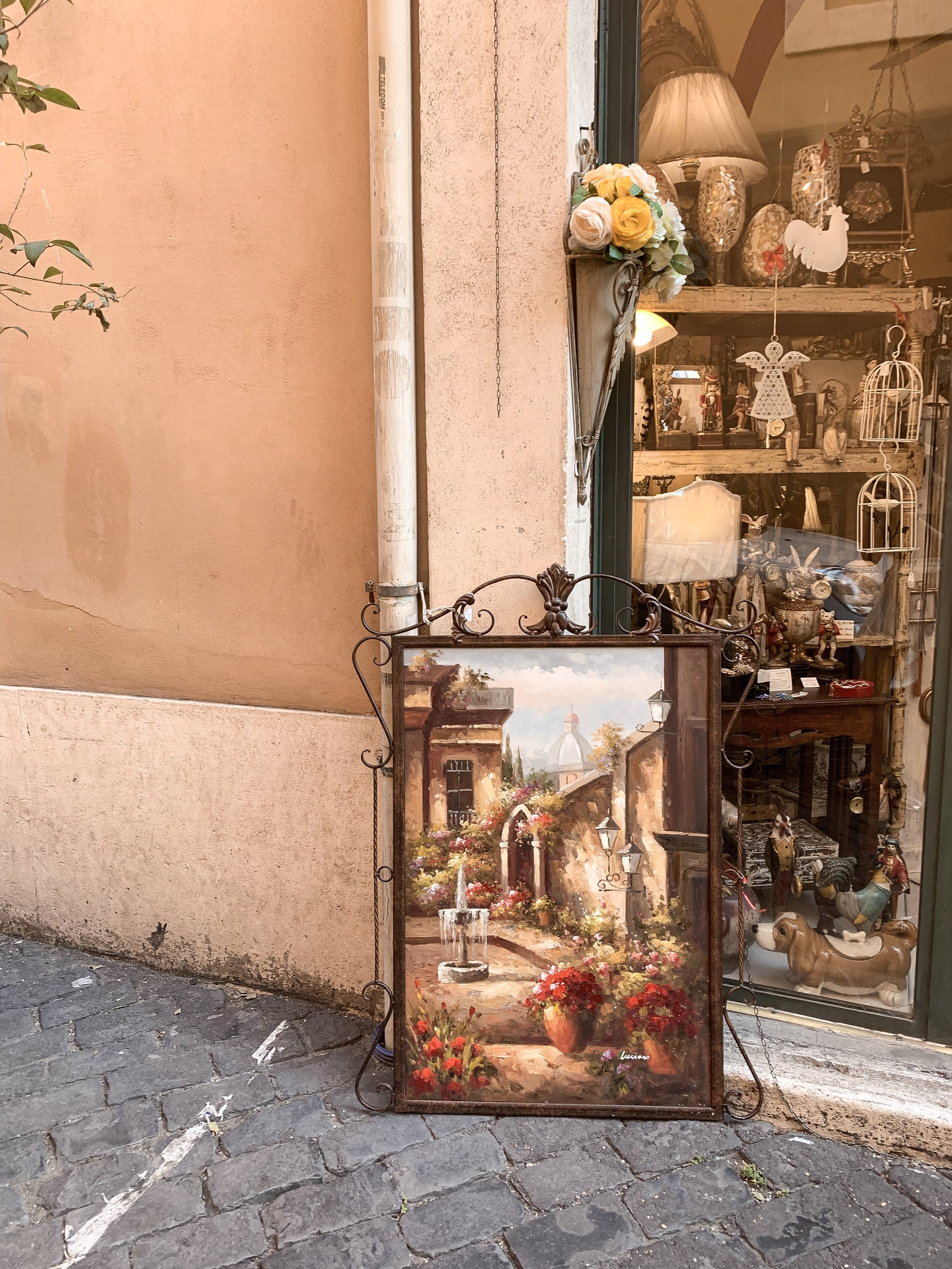Walking through one of the side streets in Rome.