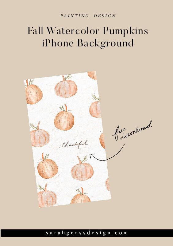 Fall Watercolor Pumpkins Iphone Background Free Sarah Gross Design